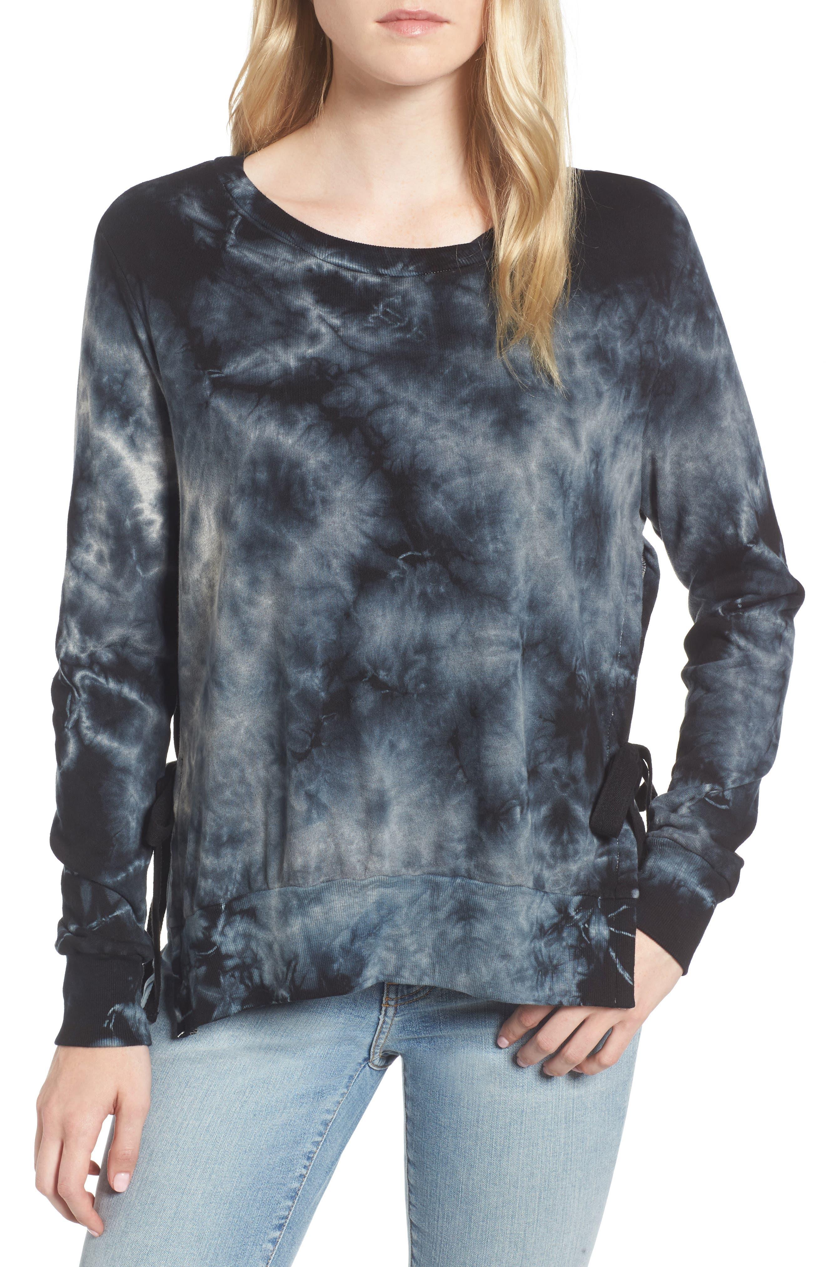 Tie Dye Sweatshirt,                         Main,                         color, Black/ Heather Grey Tie Dye