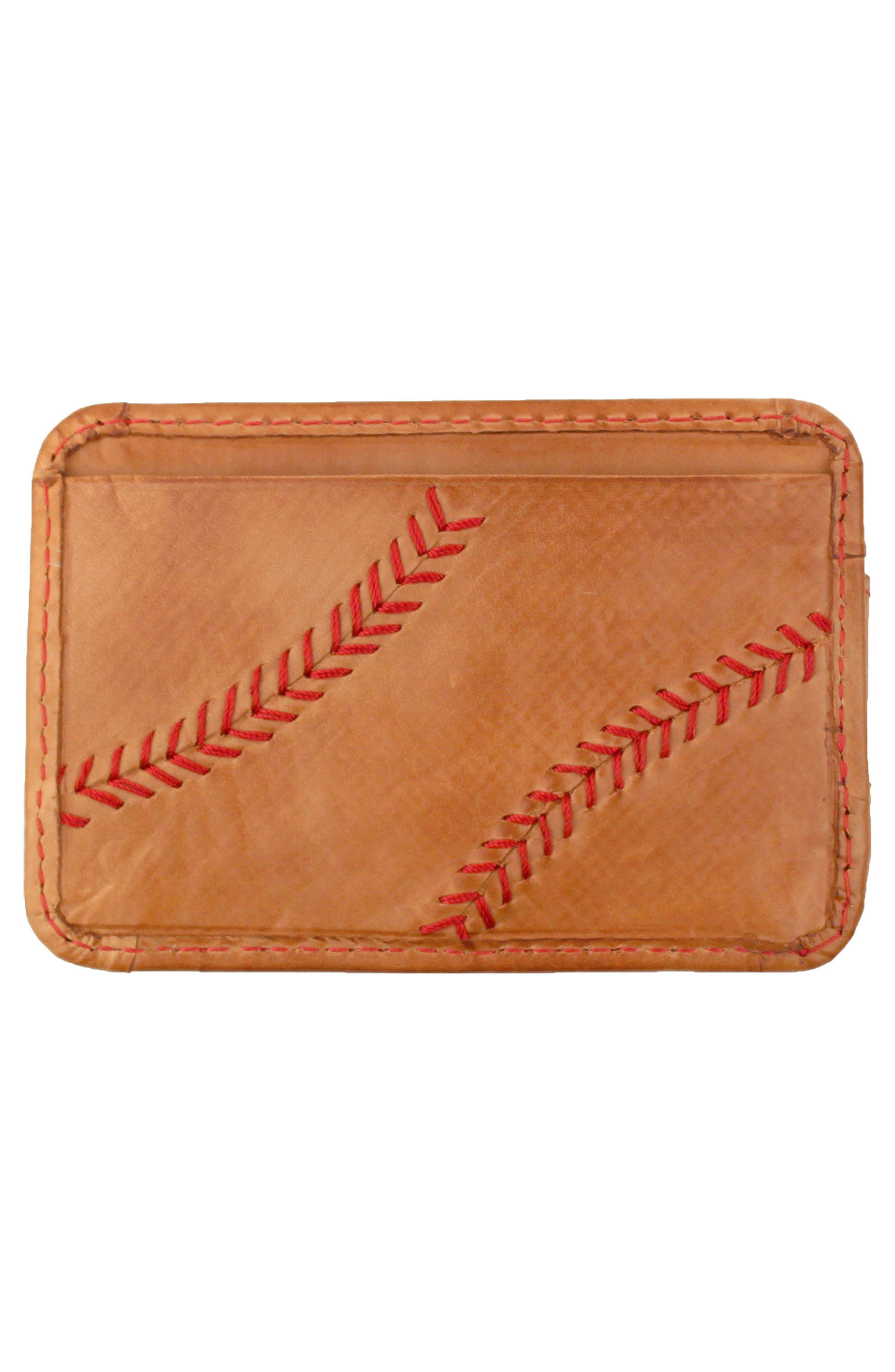Baseball Stitch Money Clip Card Case,                             Alternate thumbnail 2, color,                             Tan