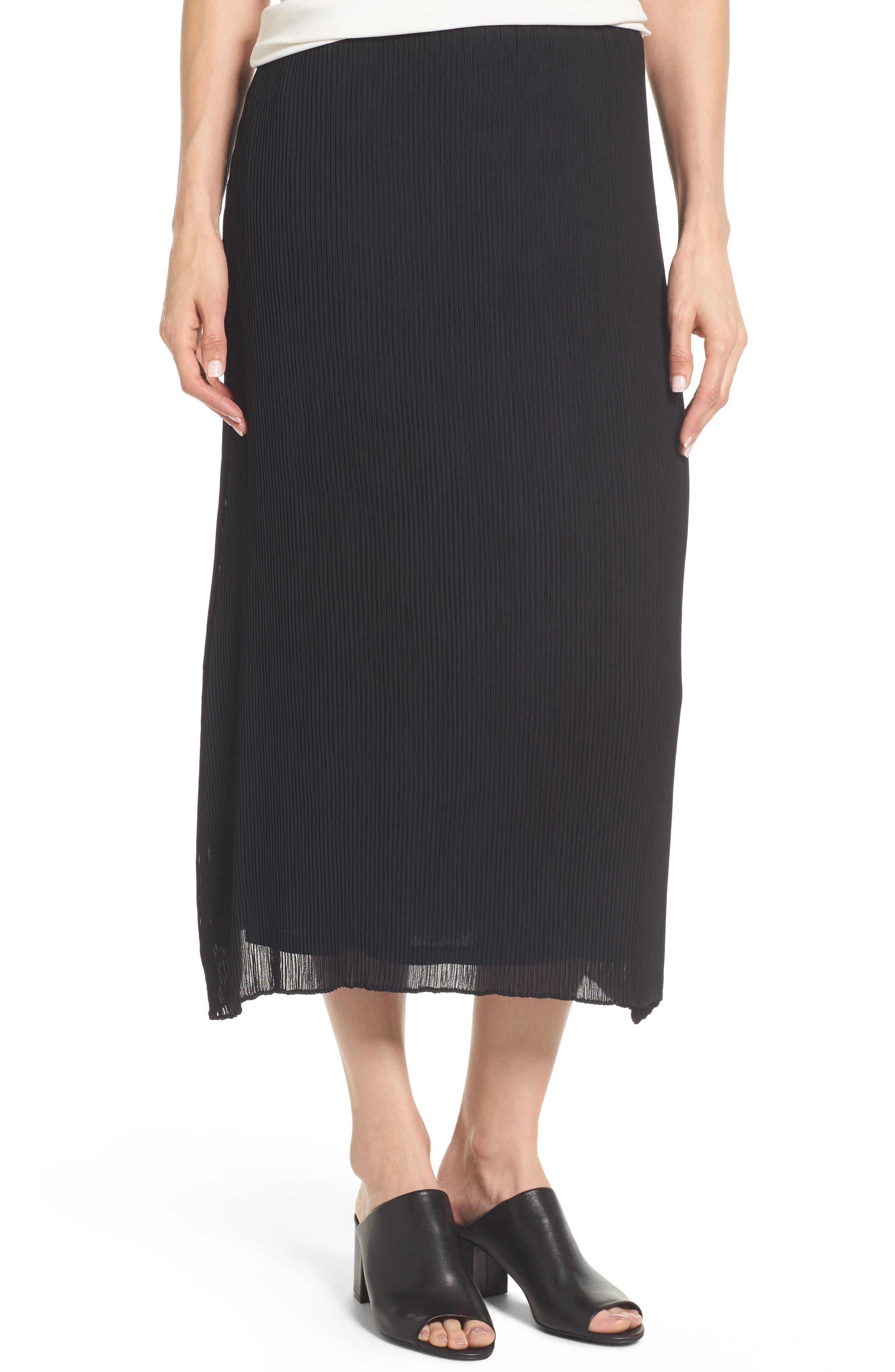 Main Image - Eileen Fisher Pleated Midi Skirt