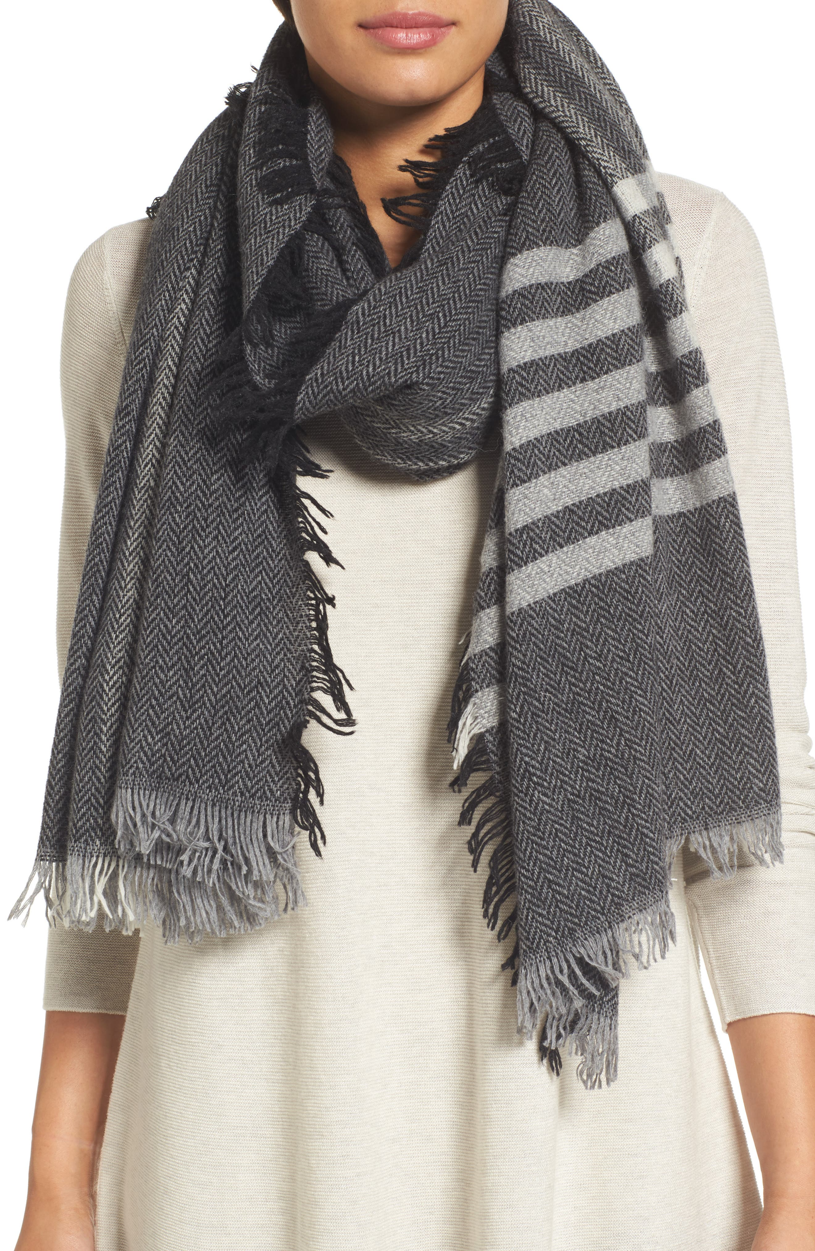 Alternate Image 1 Selected - Eileen Fisher Plaid Wool Blend Scarf