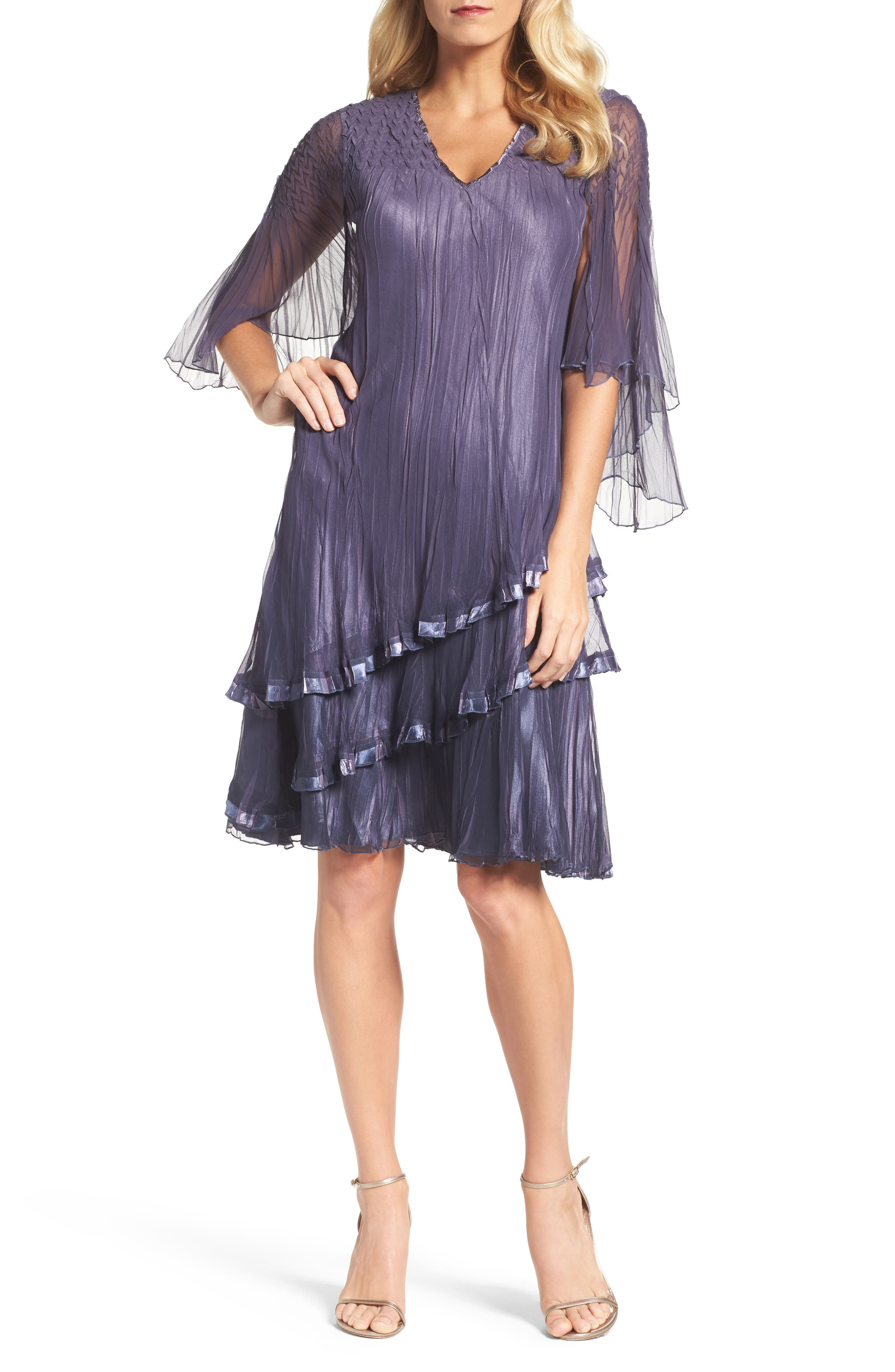 Cape Sleeve Tiered A-Line Dress,                         Main,                         color, Purple Sage Blue