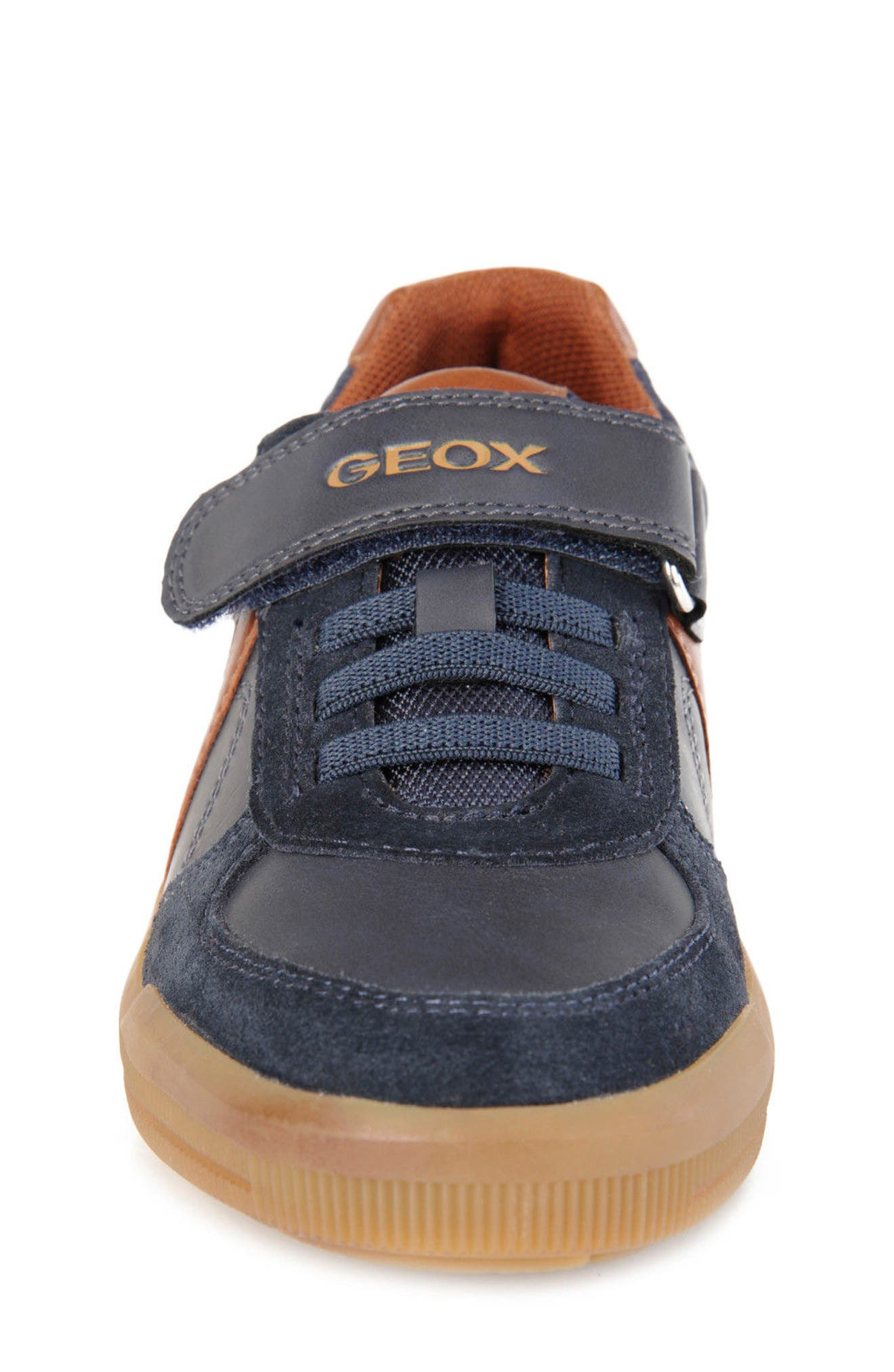 Arzach Low Top Sneaker,                             Alternate thumbnail 4, color,                             Navy/ Brown