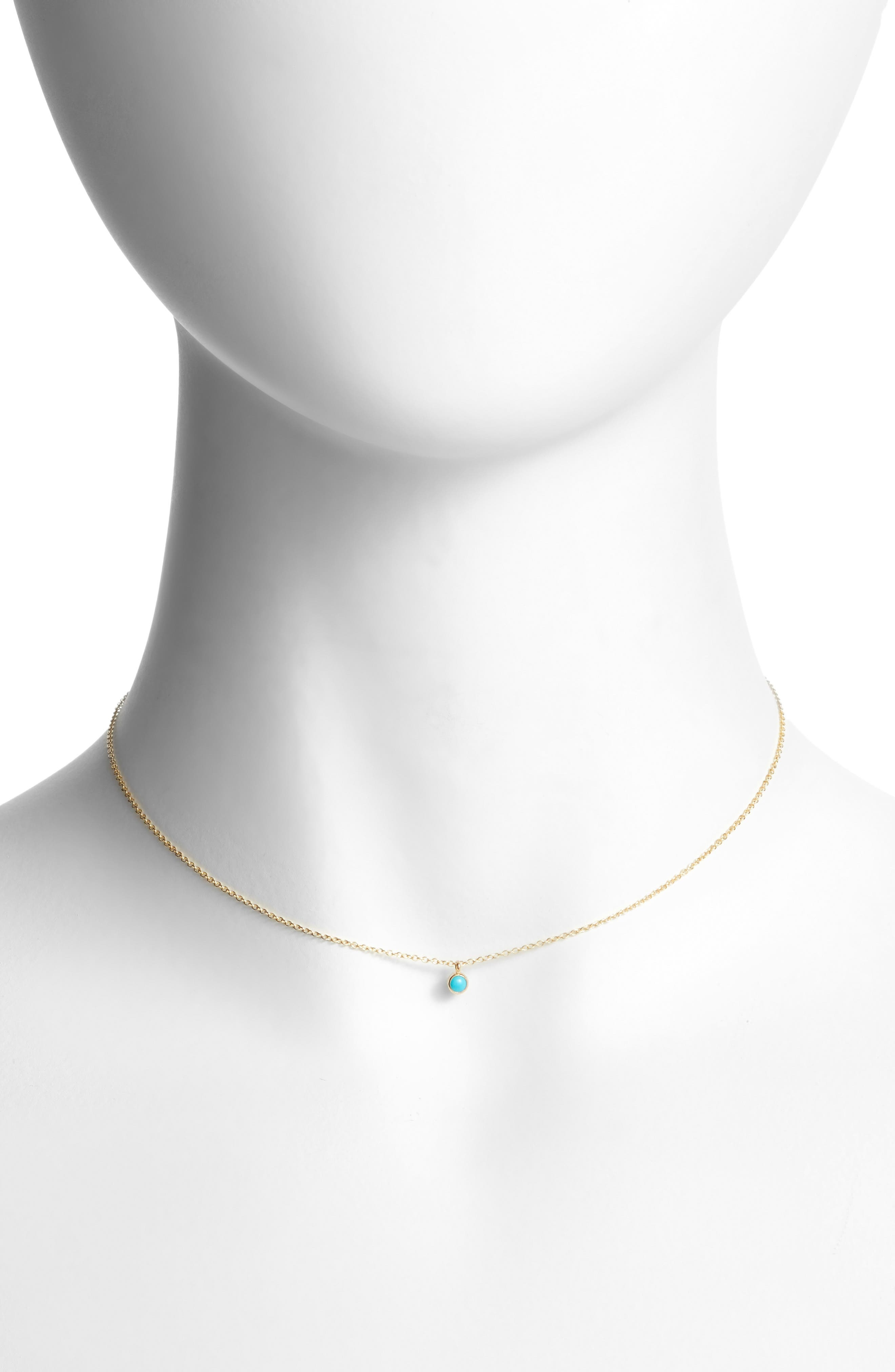 Dangling Semiprecious Stone Choker,                         Main,                         color, Yellow Gold/ Turquoise