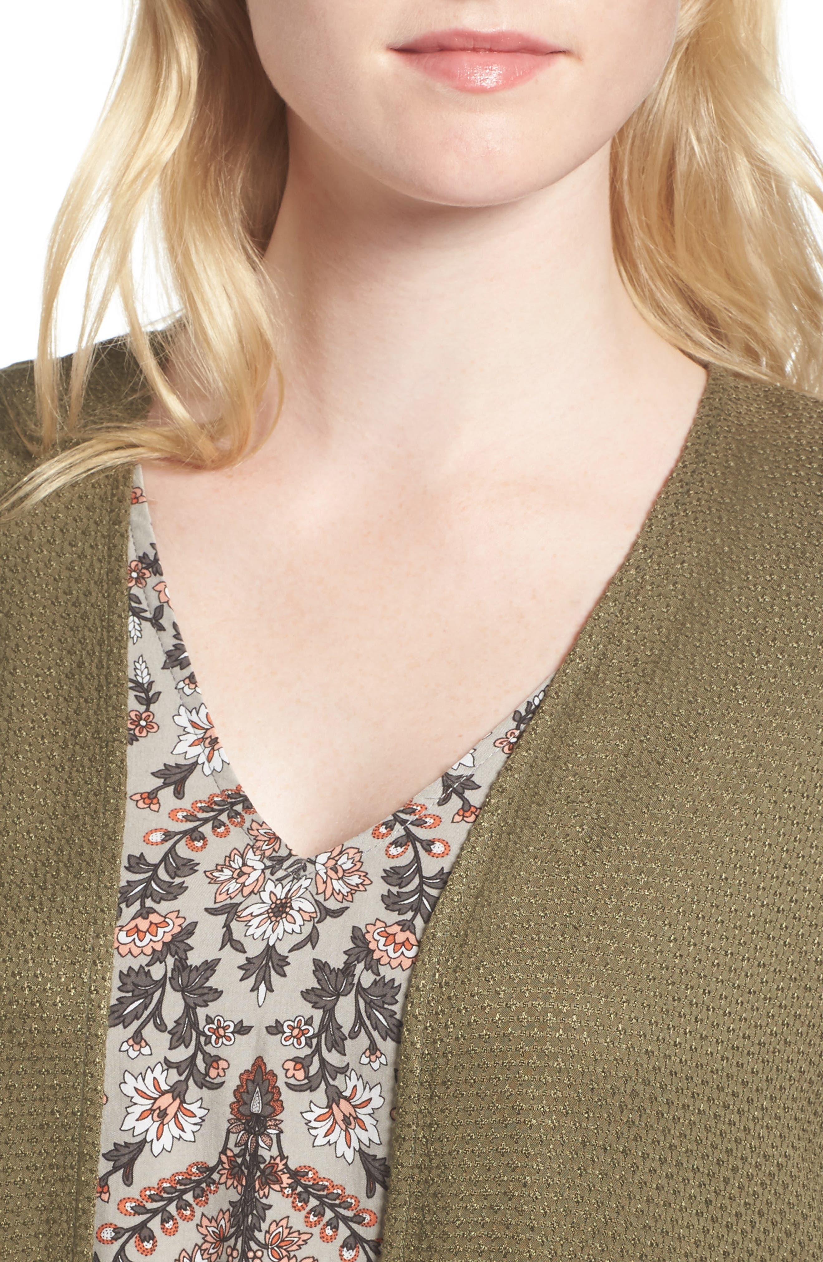 Longline Cardigan,                             Alternate thumbnail 4, color,                             Olive Dark