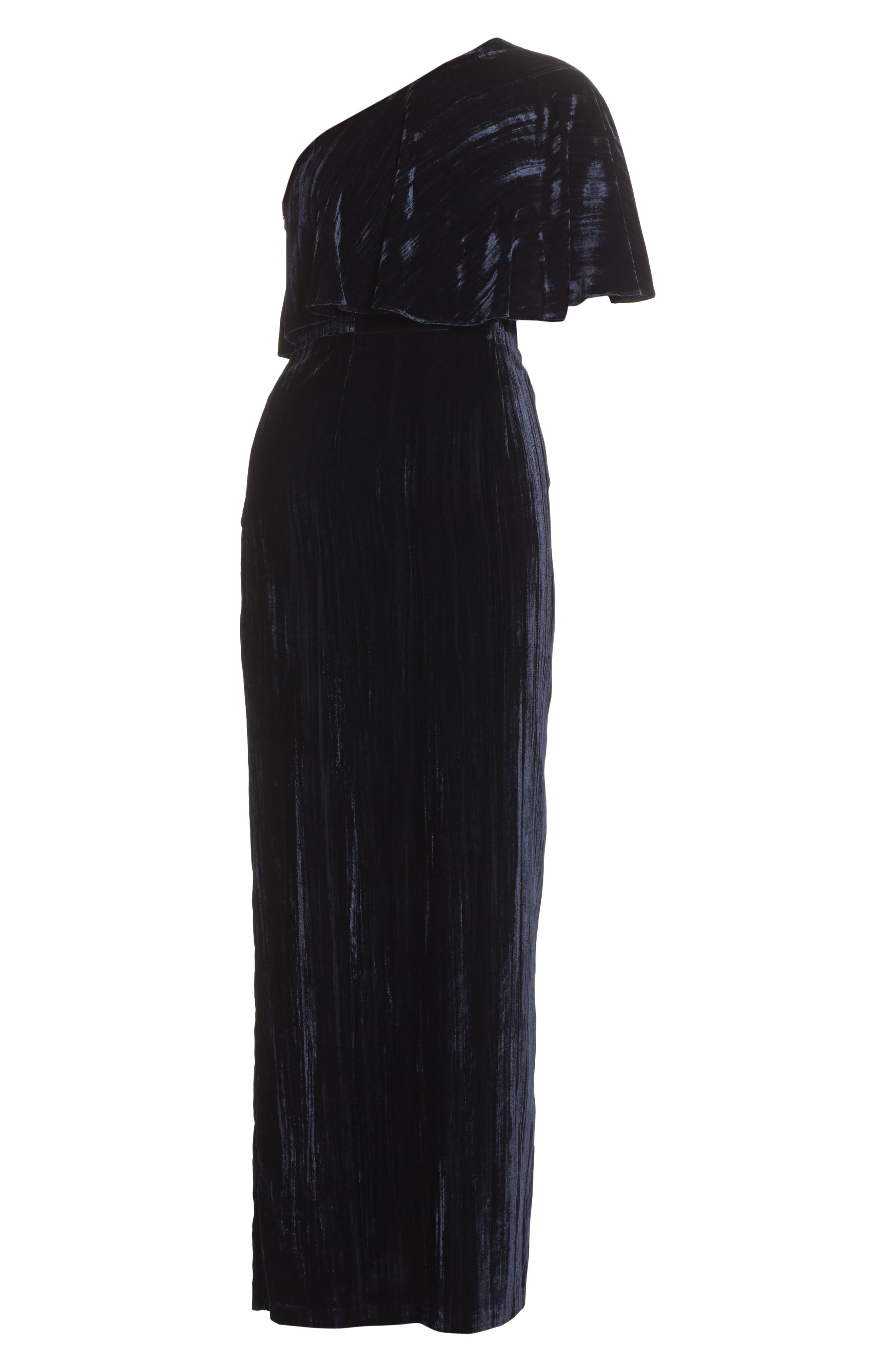 Alternate Image 6  - Adrianna Papell One-Shoulder Velvet Gown