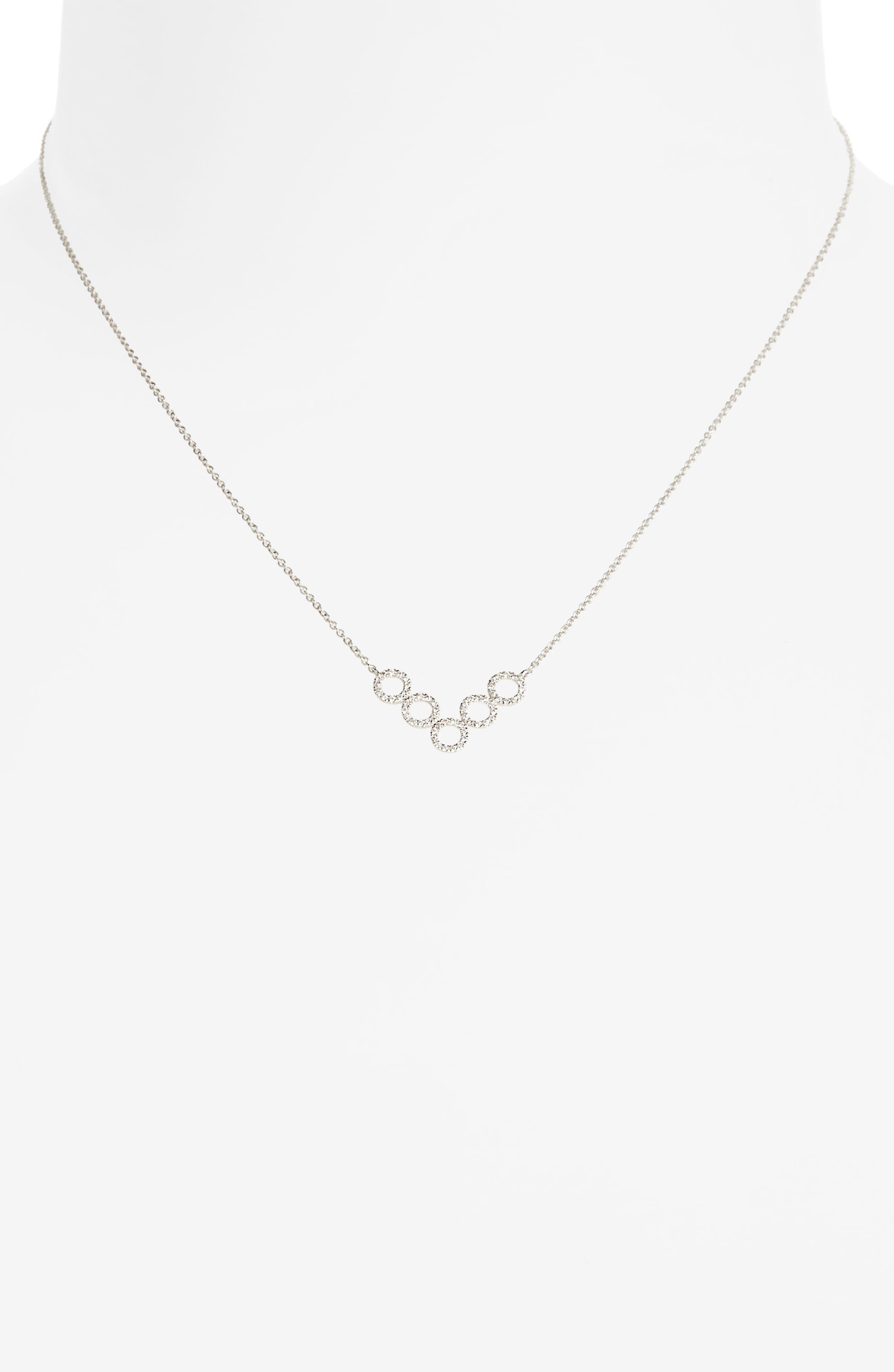 Geometric Circle Pendant Necklace,                             Main thumbnail 1, color,                             White Gold