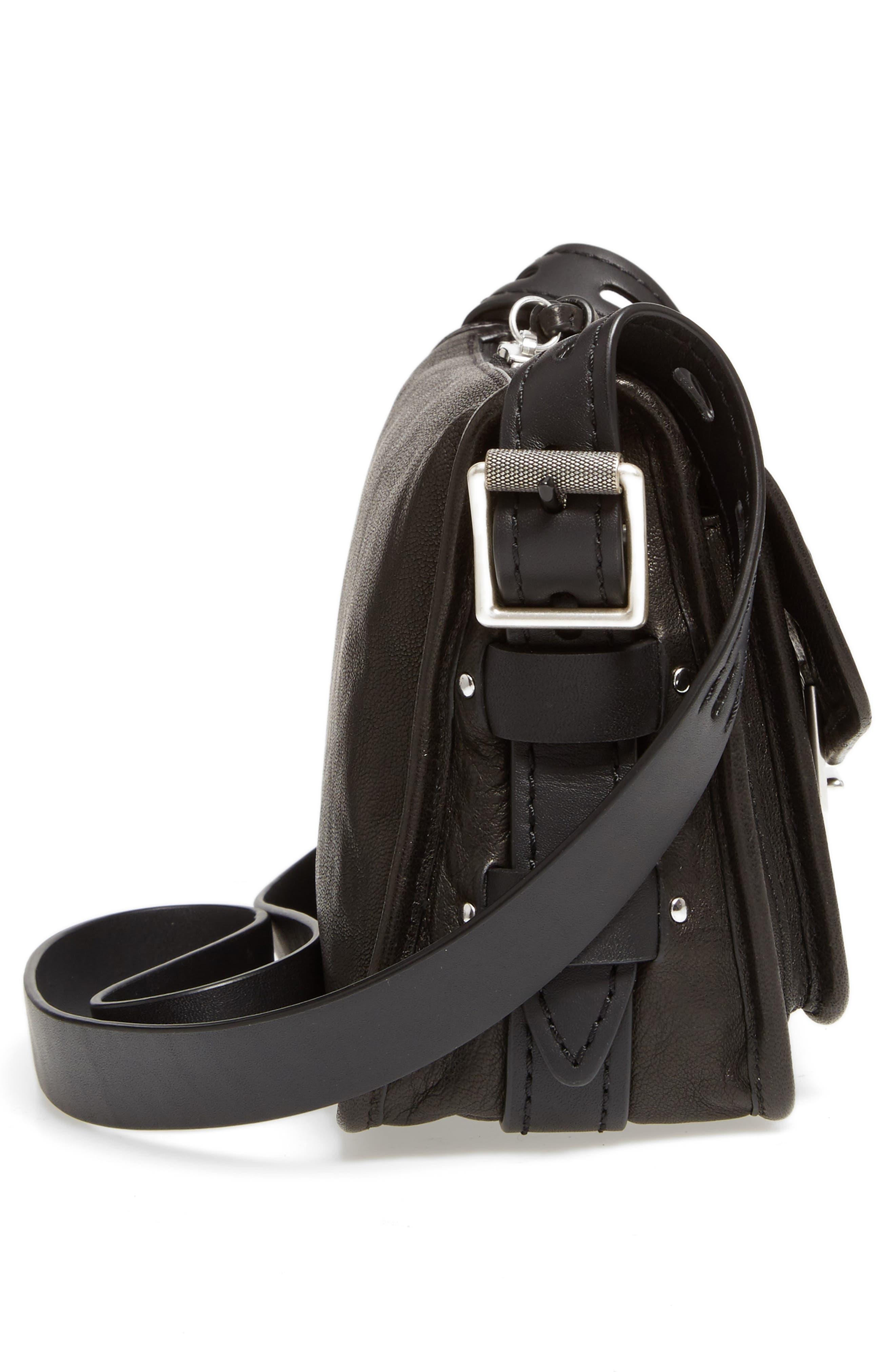Small Field Leather Messenger Bag,                             Alternate thumbnail 4, color,                             Black