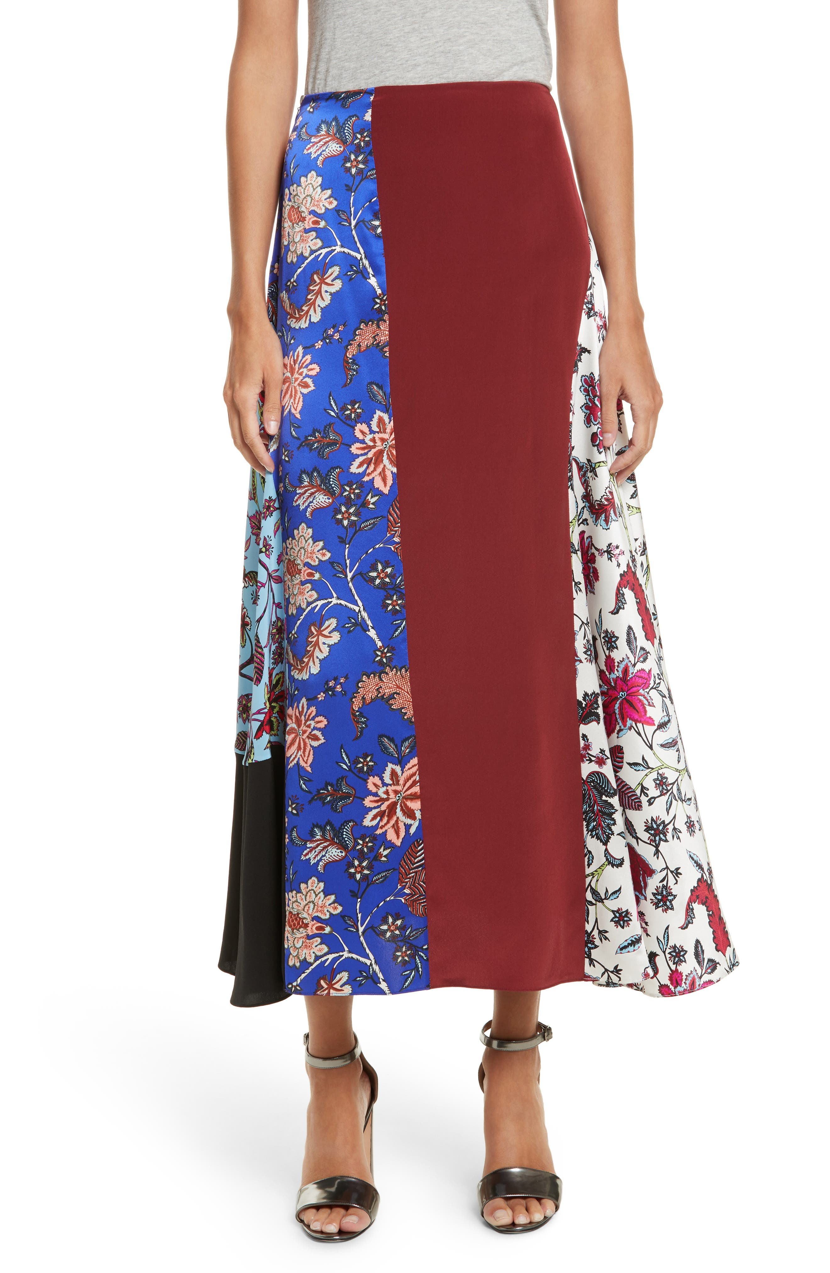 Draped Colorblock Silk Midi Skirt,                         Main,                         color, Canton Notebook Multi