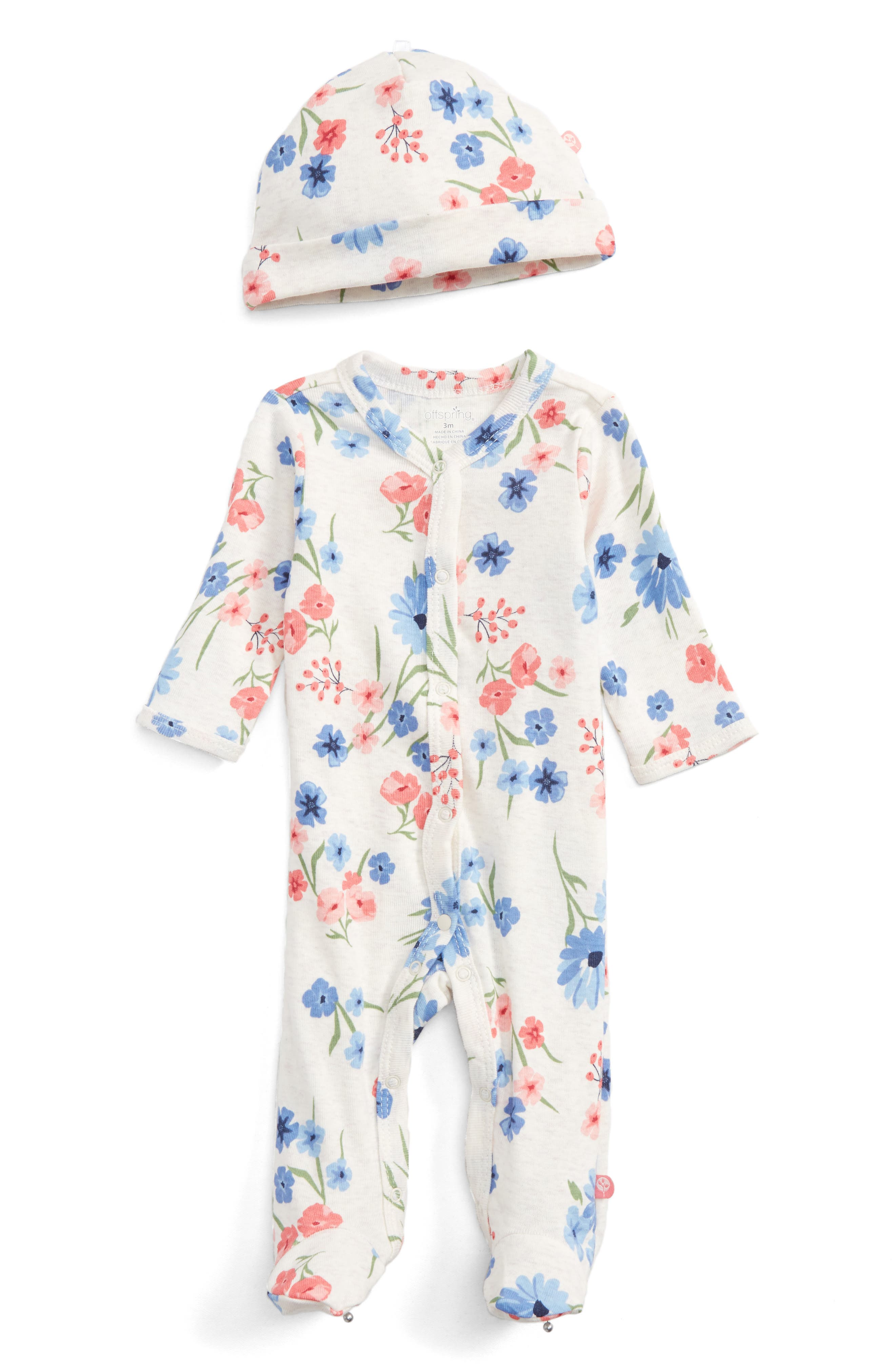 Alternate Image 1 Selected - Offspring Floral Print Footie & Hat Set (Baby Girls)