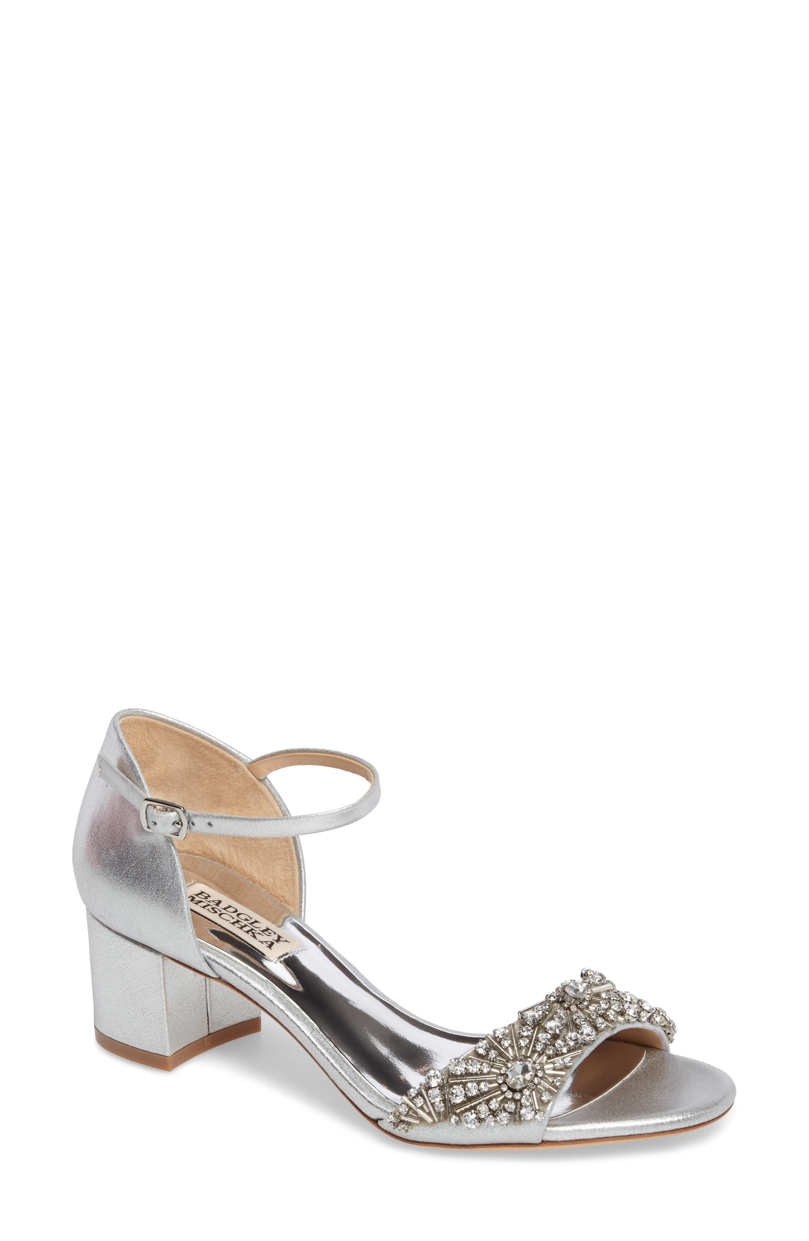 Badgley Mischka Mareva Ankle Strap Block Heel Sandal (Women)