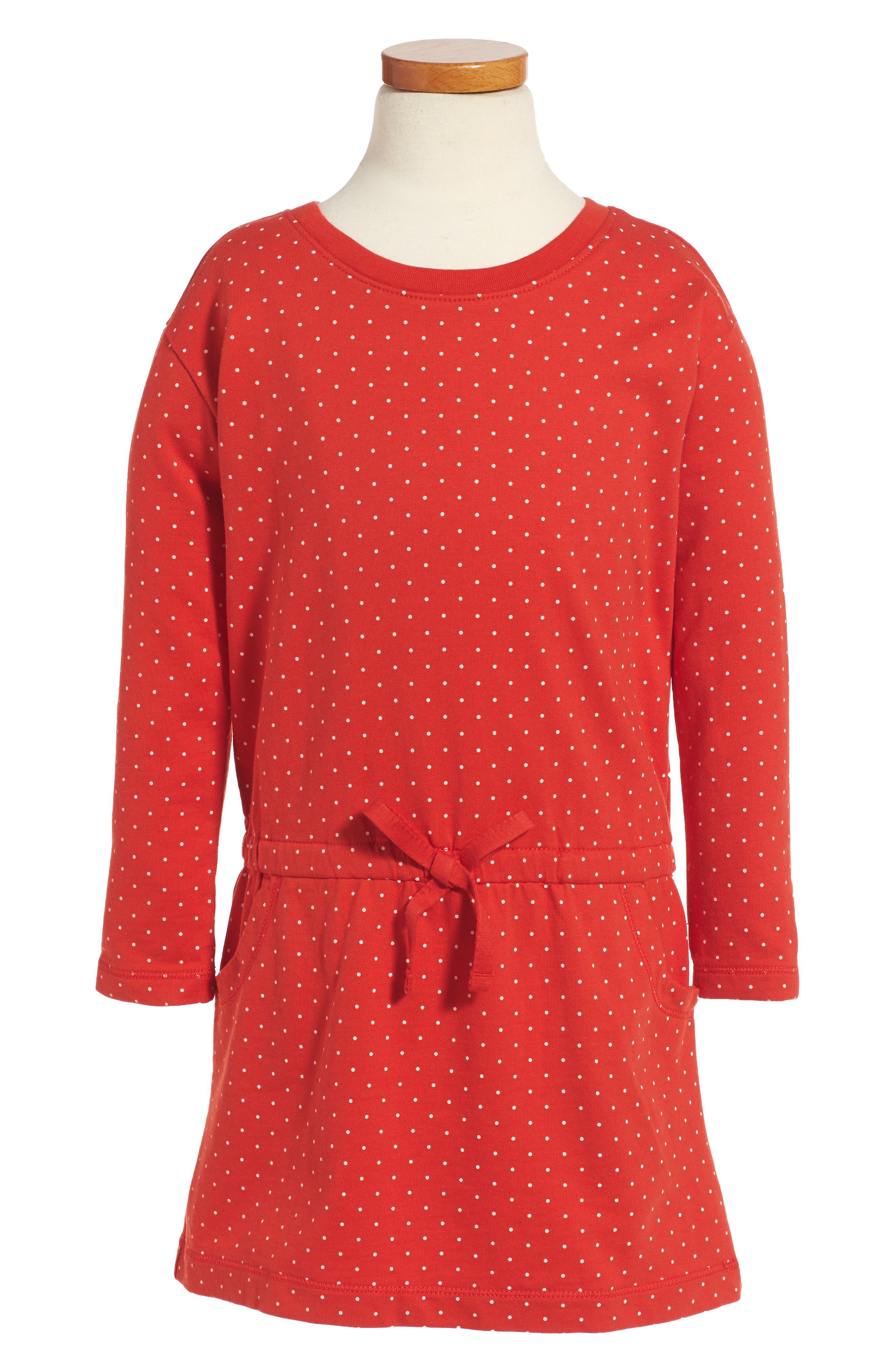 Dotty Dress,                         Main,                         color, Vermillion