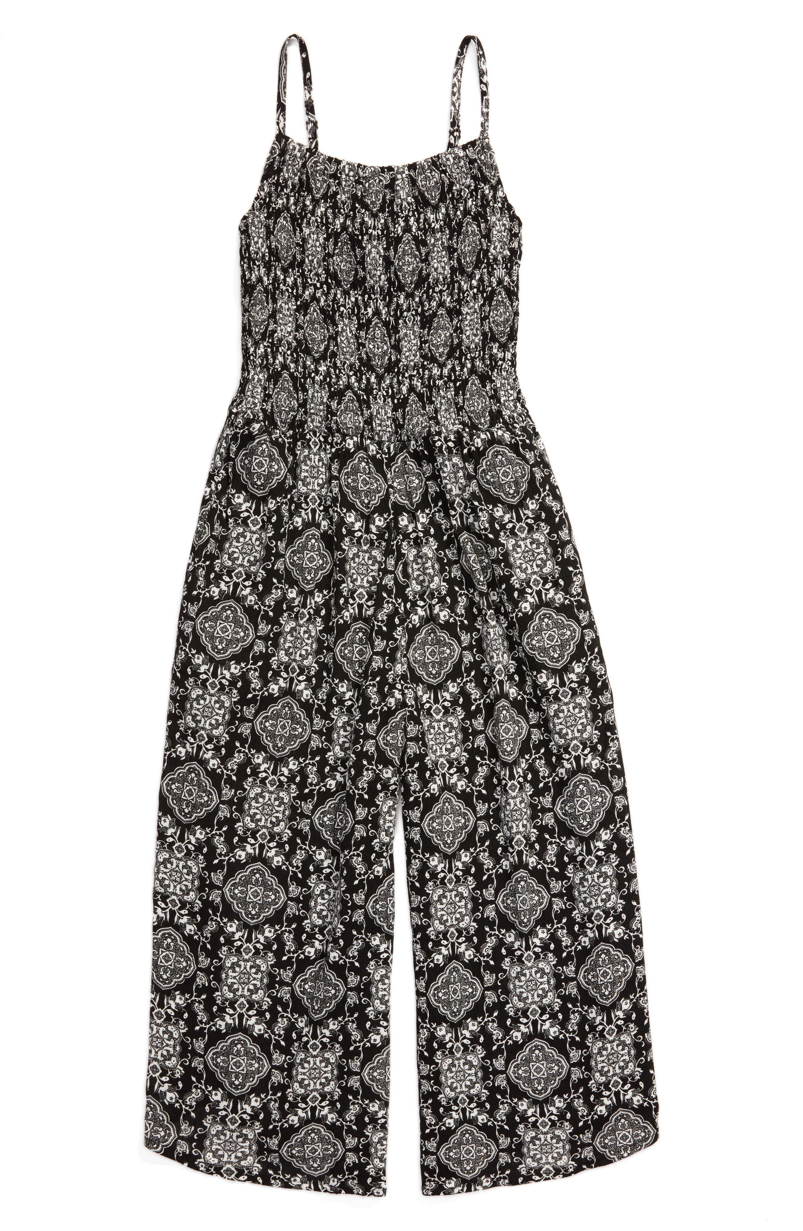 Smocked Jumpsuit,                         Main,                         color, Black/ White