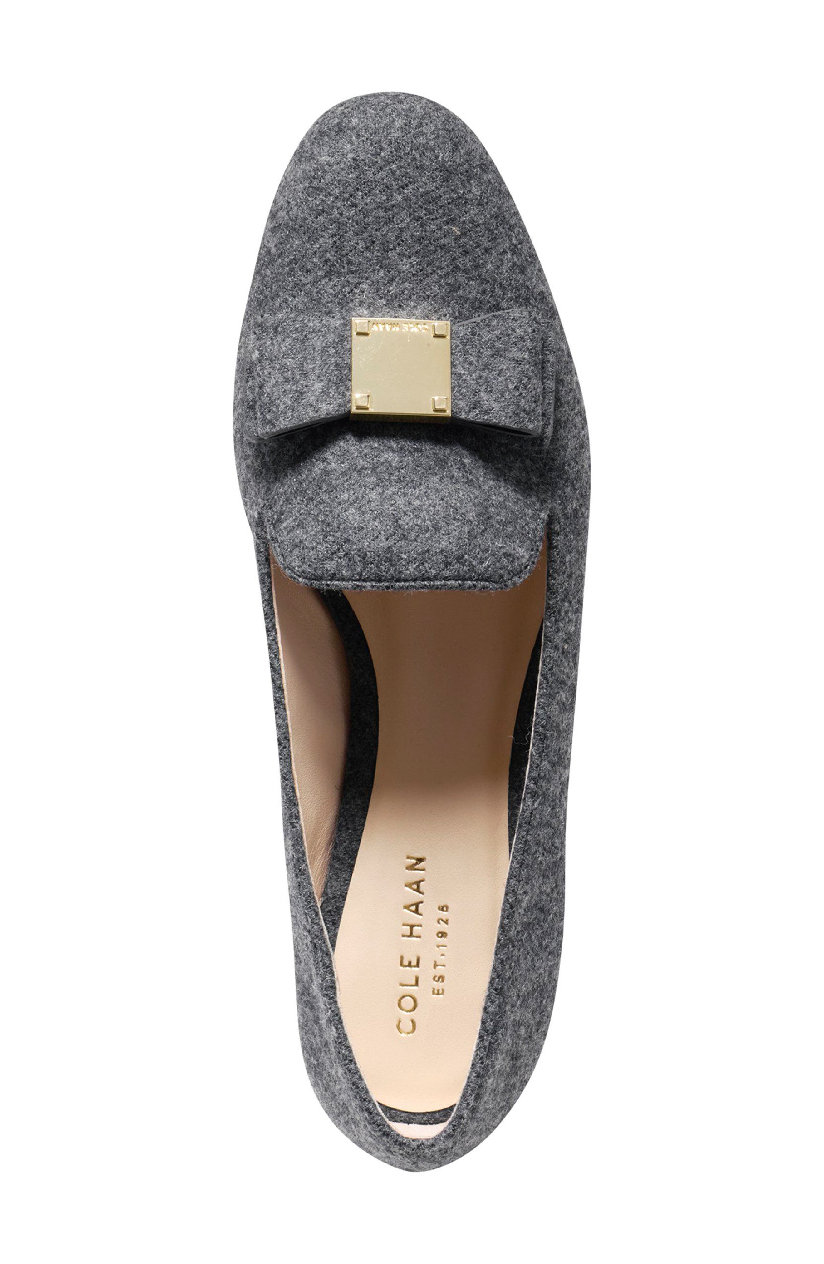 Tali Bow Loafer,                             Alternate thumbnail 4, color,                             Gray Flannel