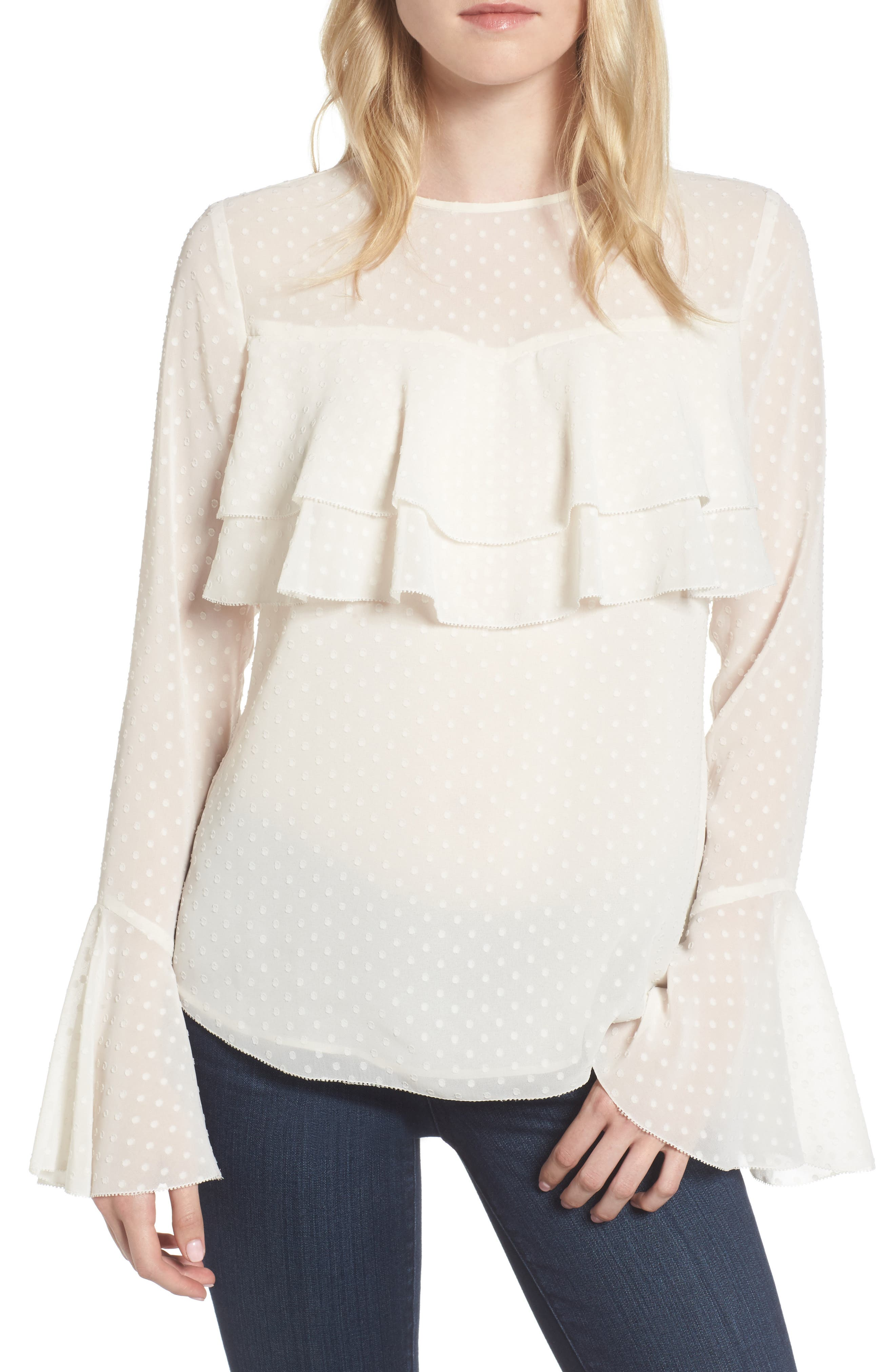 Double Ruffle Blouse,                         Main,                         color, Ivory Pristine