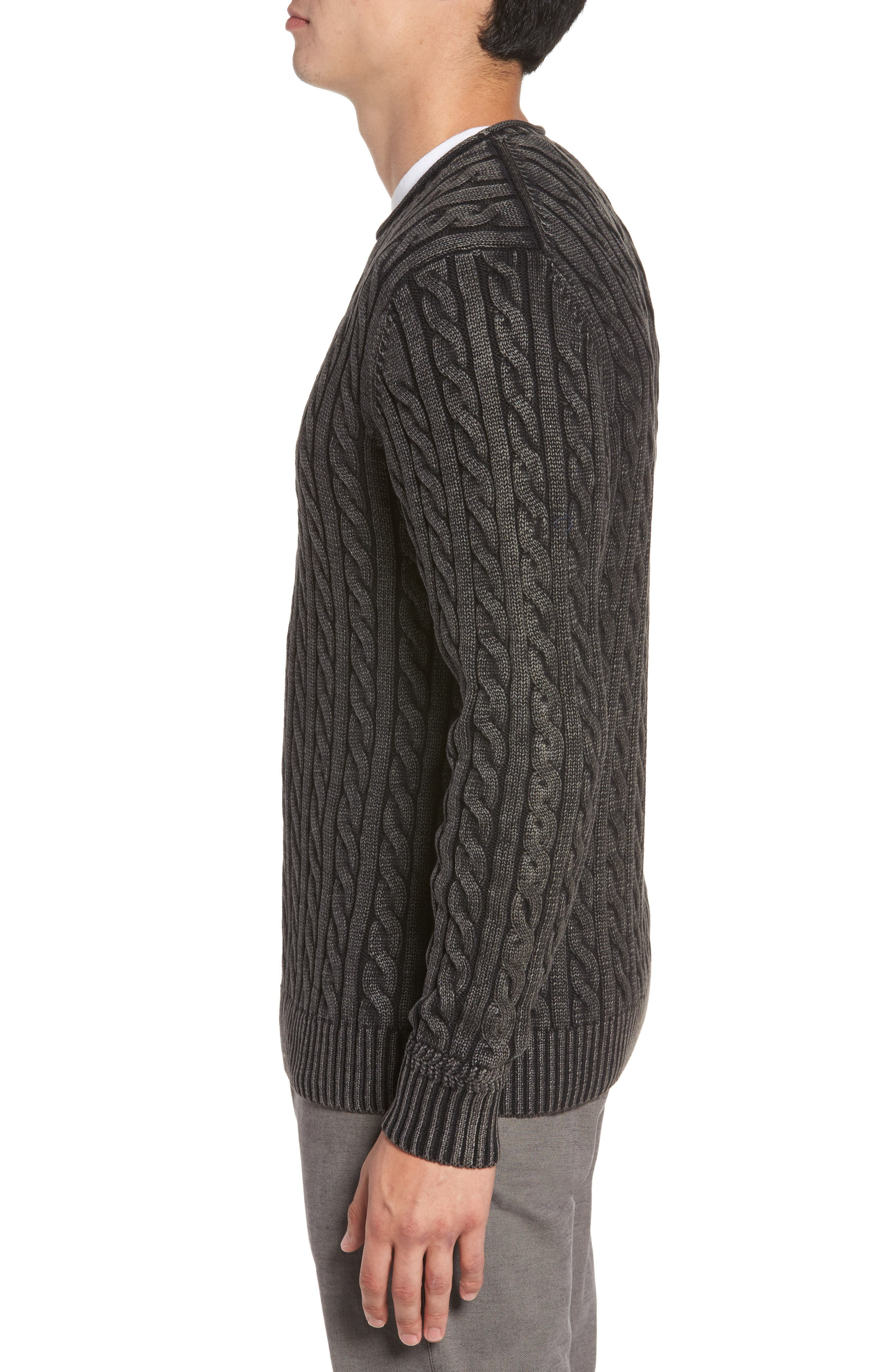 Landray Cable Knit Cotton Sweater,                             Alternate thumbnail 3, color,                             Charcoal