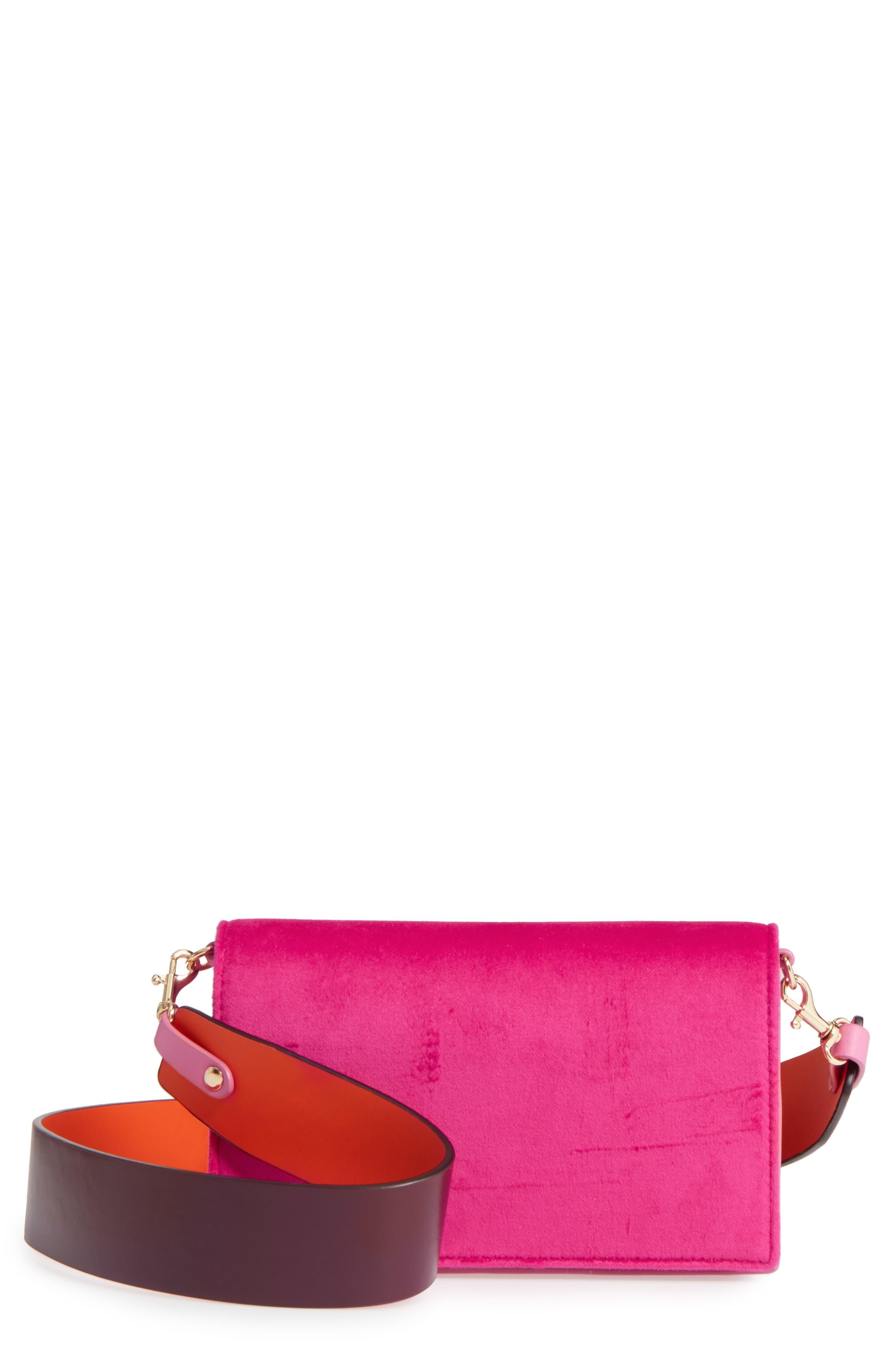 Soirée Velvet Convertible Crossbody Bag,                             Main thumbnail 1, color,                             Pink Azalea