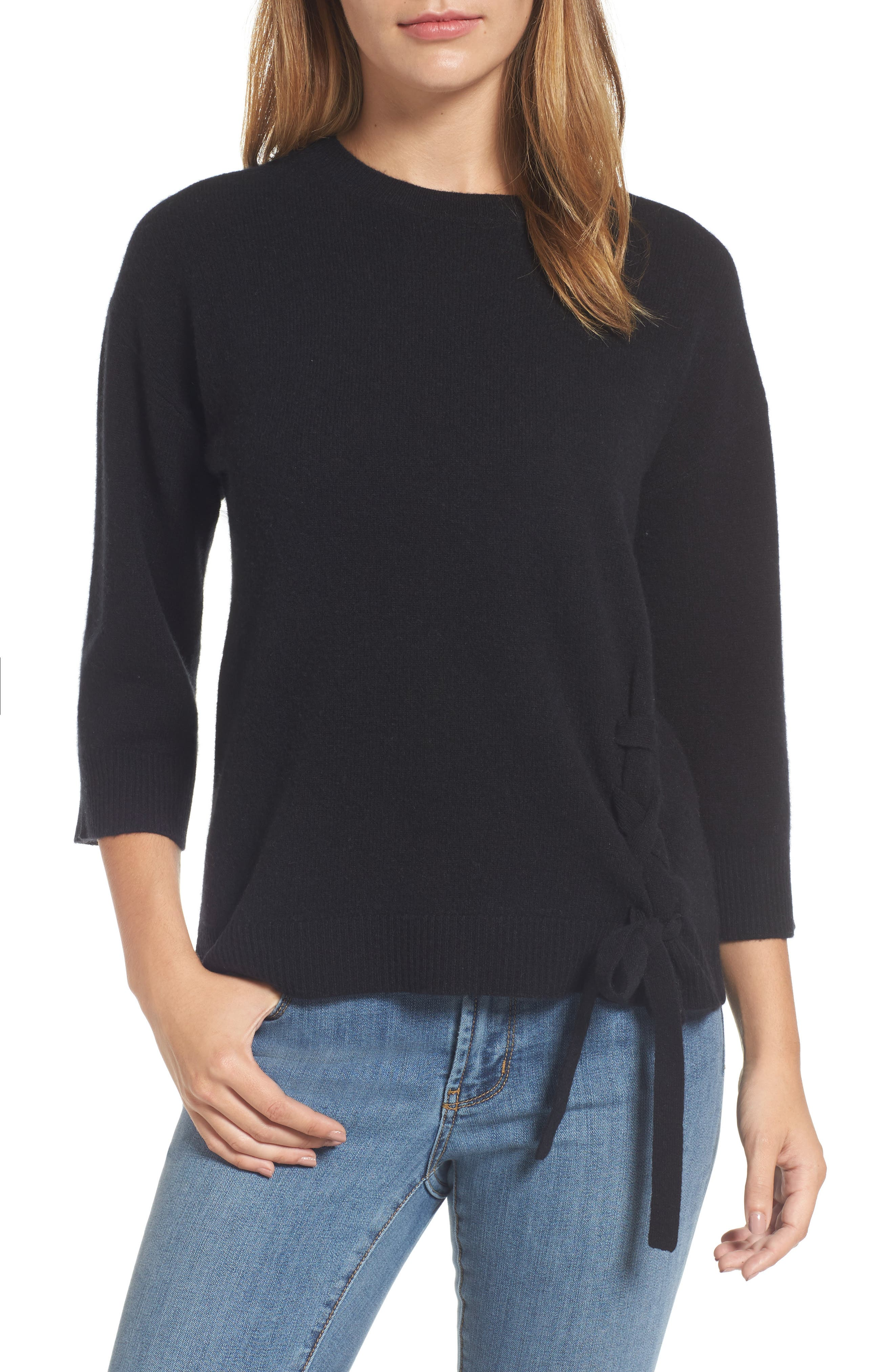 Side Tie Wool and Cashmere Sweater,                         Main,                         color, Black