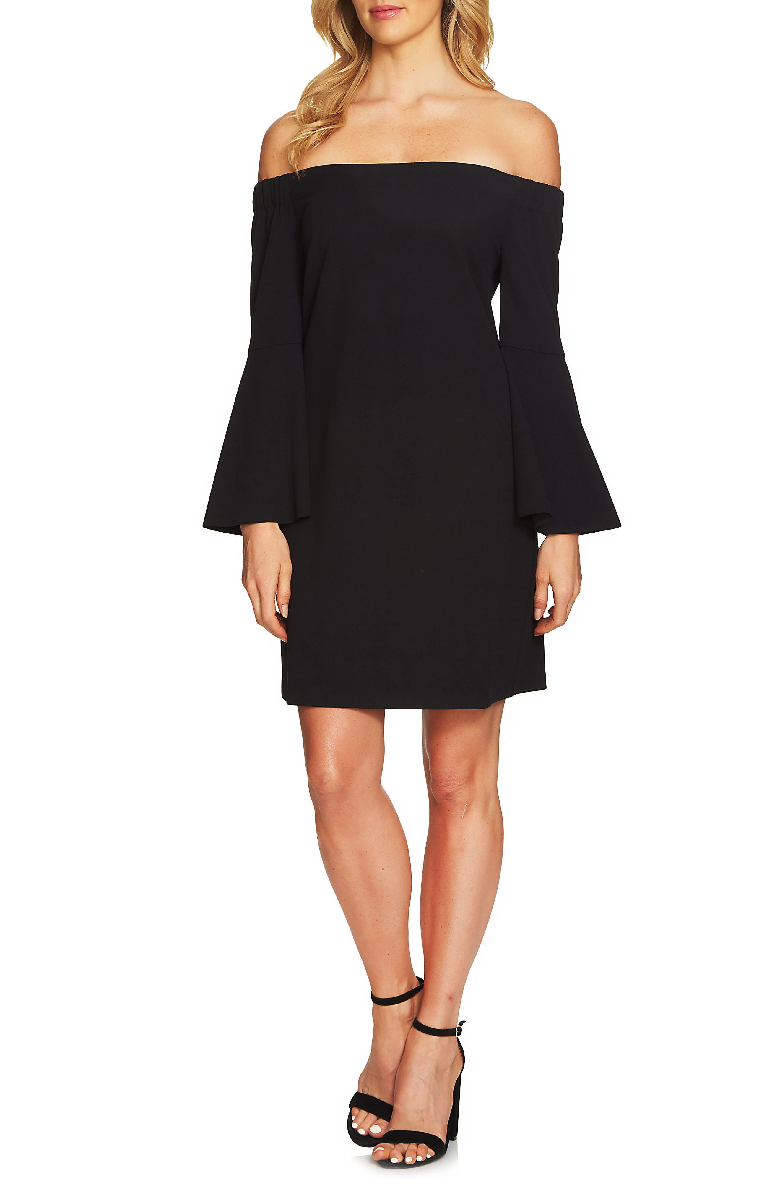 Hadley Off the Shoulder Shift Dress,                             Main thumbnail 1, color,                             Rich Black