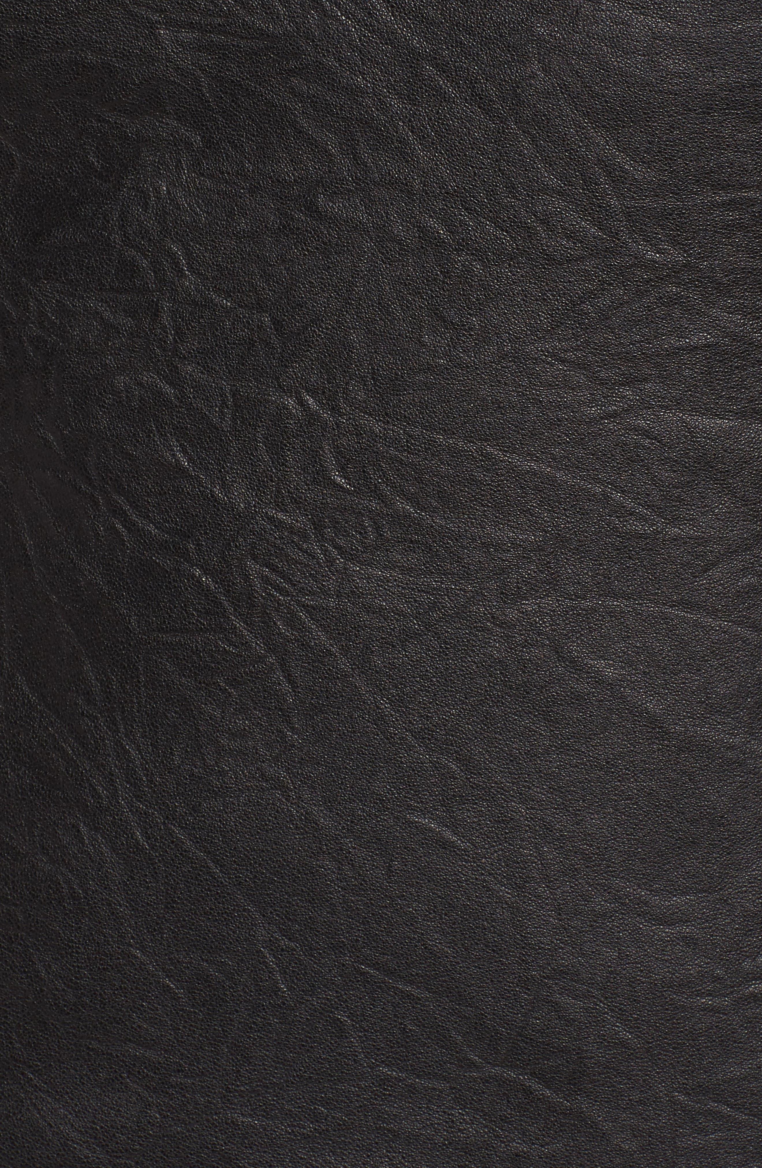 Aimes Leather Jacket,                             Alternate thumbnail 5, color,                             Black