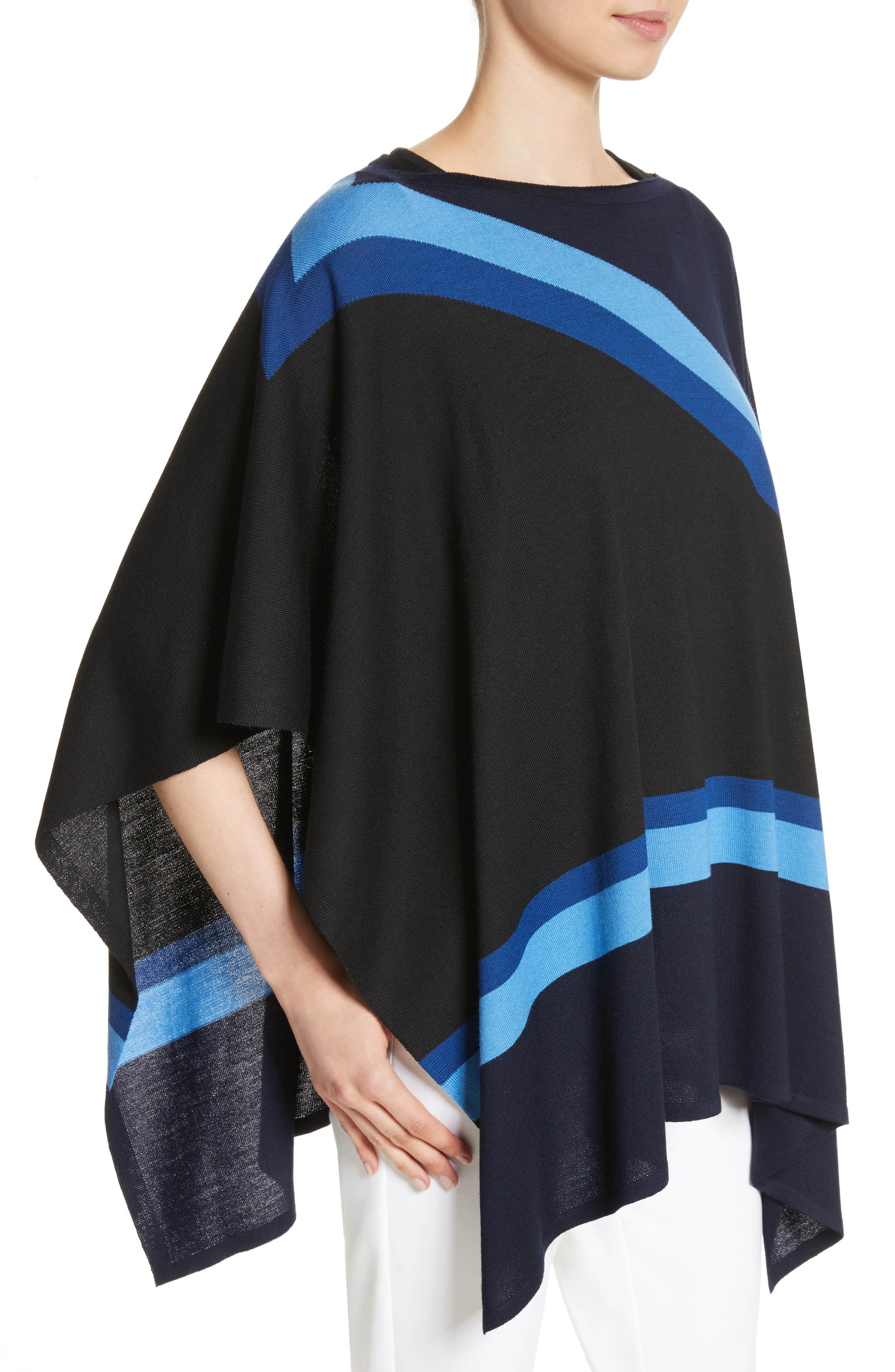 Intarsia Knit Jersey Poncho,                             Alternate thumbnail 4, color,                             Navy Multi