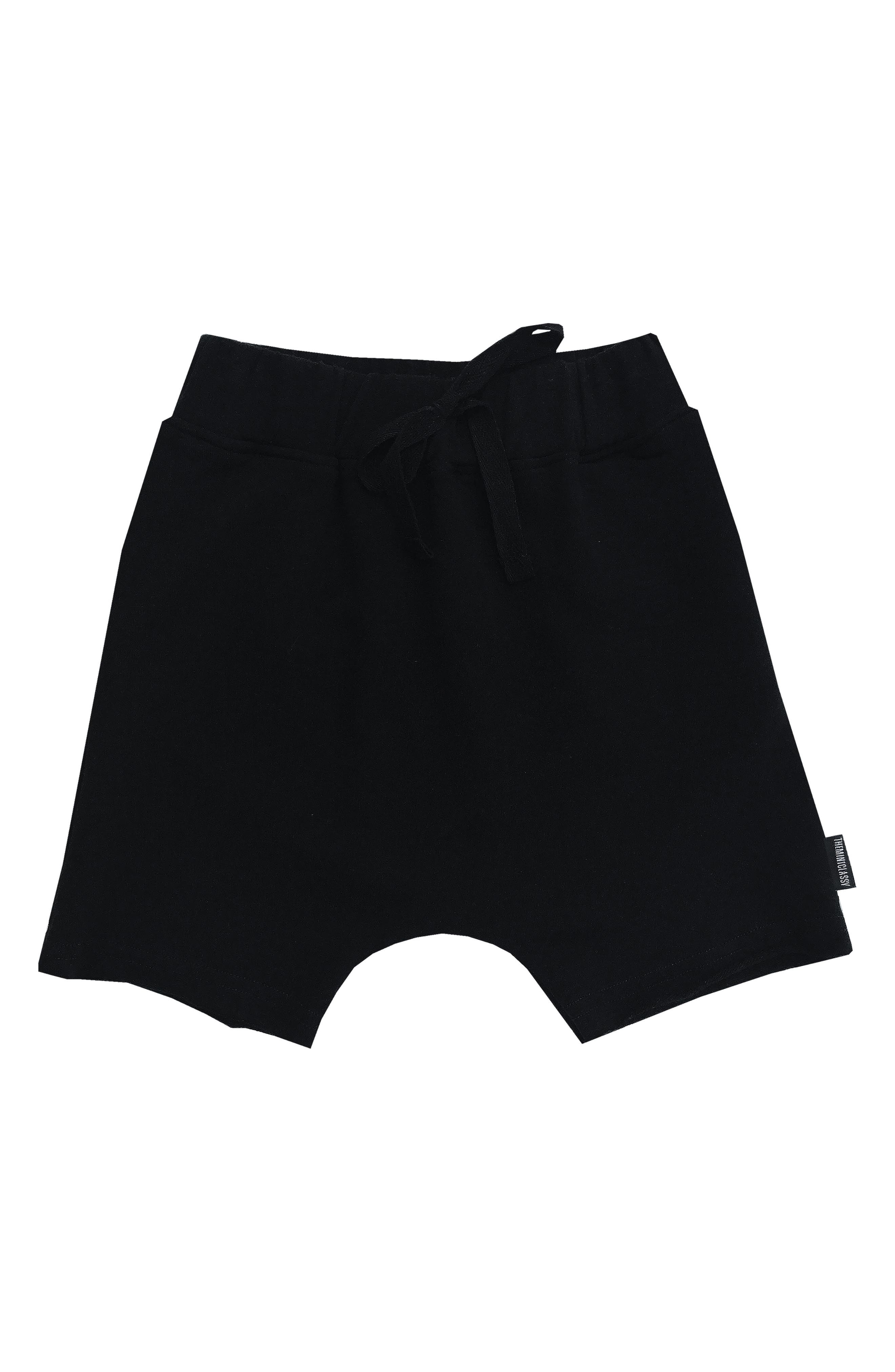 Drawstring Harem Shorts,                         Main,                         color, Black