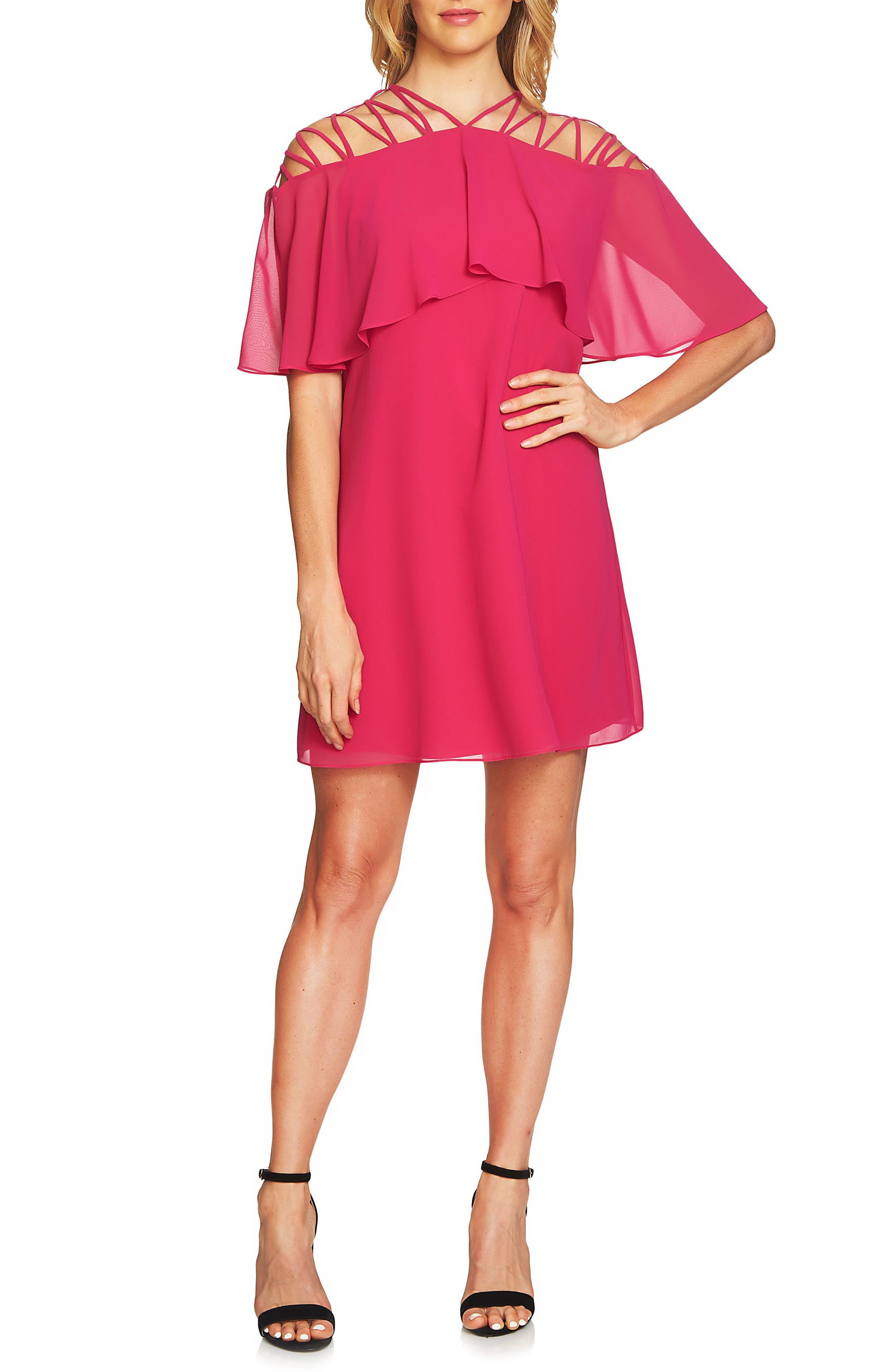 Taylor Lattice Chiffon Shift Dress,                         Main,                         color, Rose Dahlia