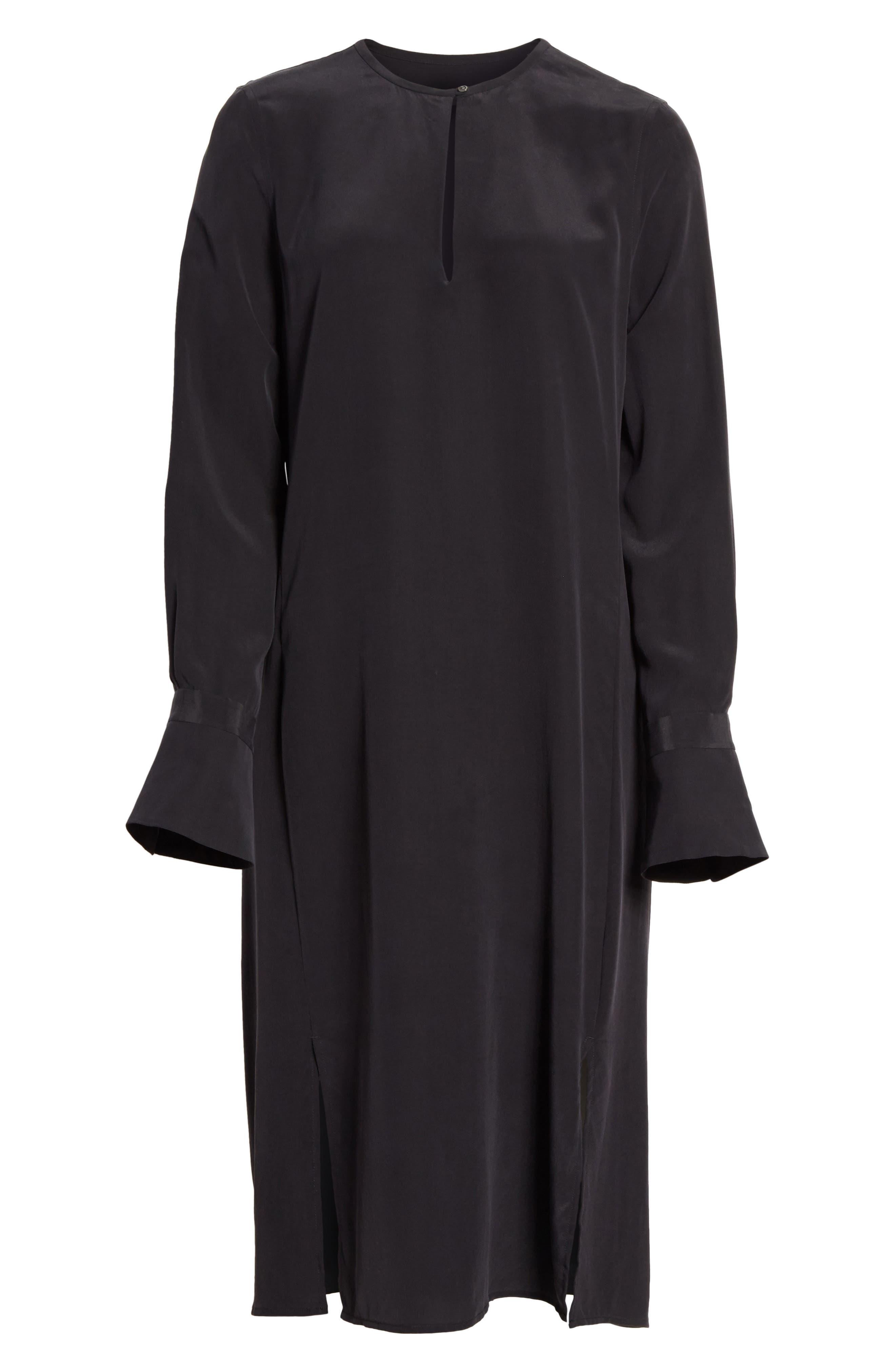 Granger Silk Dress,                             Alternate thumbnail 6, color,                             True Black