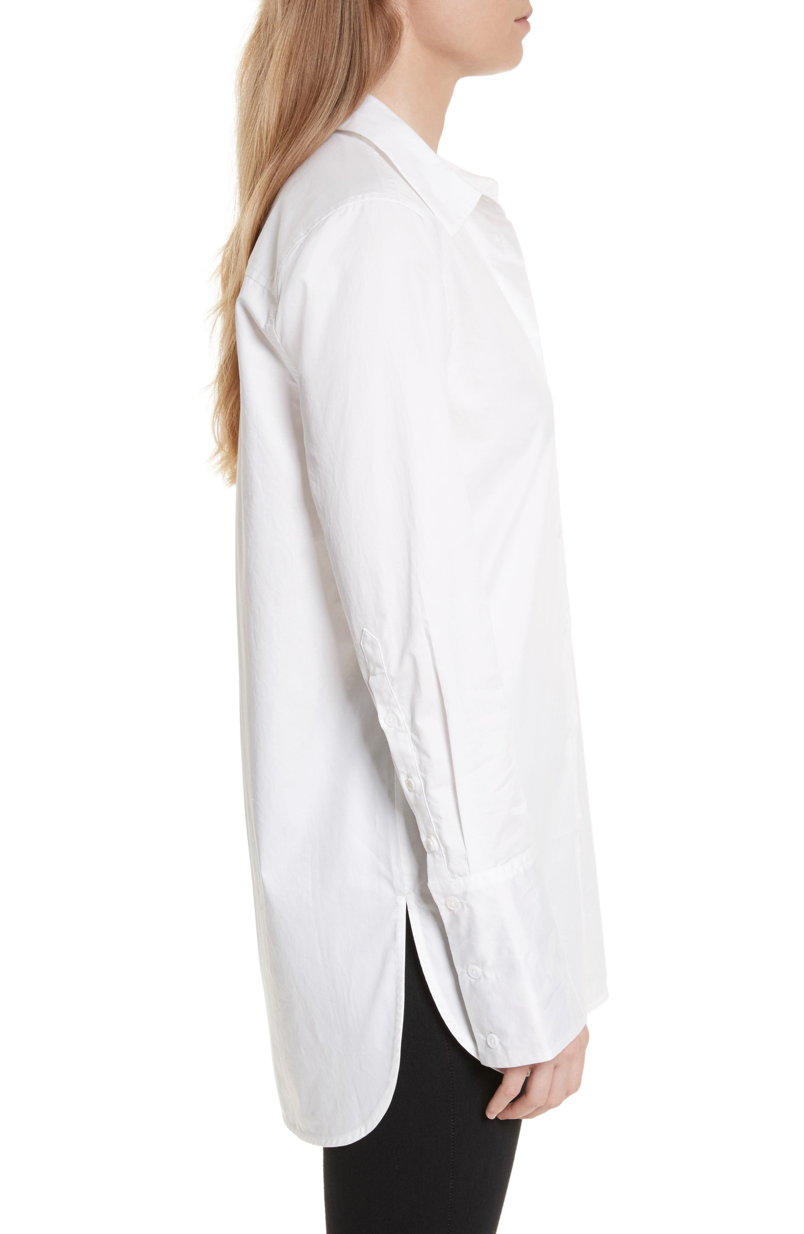 Arlette Cotton Shirt,                             Alternate thumbnail 3, color,                             Bright White