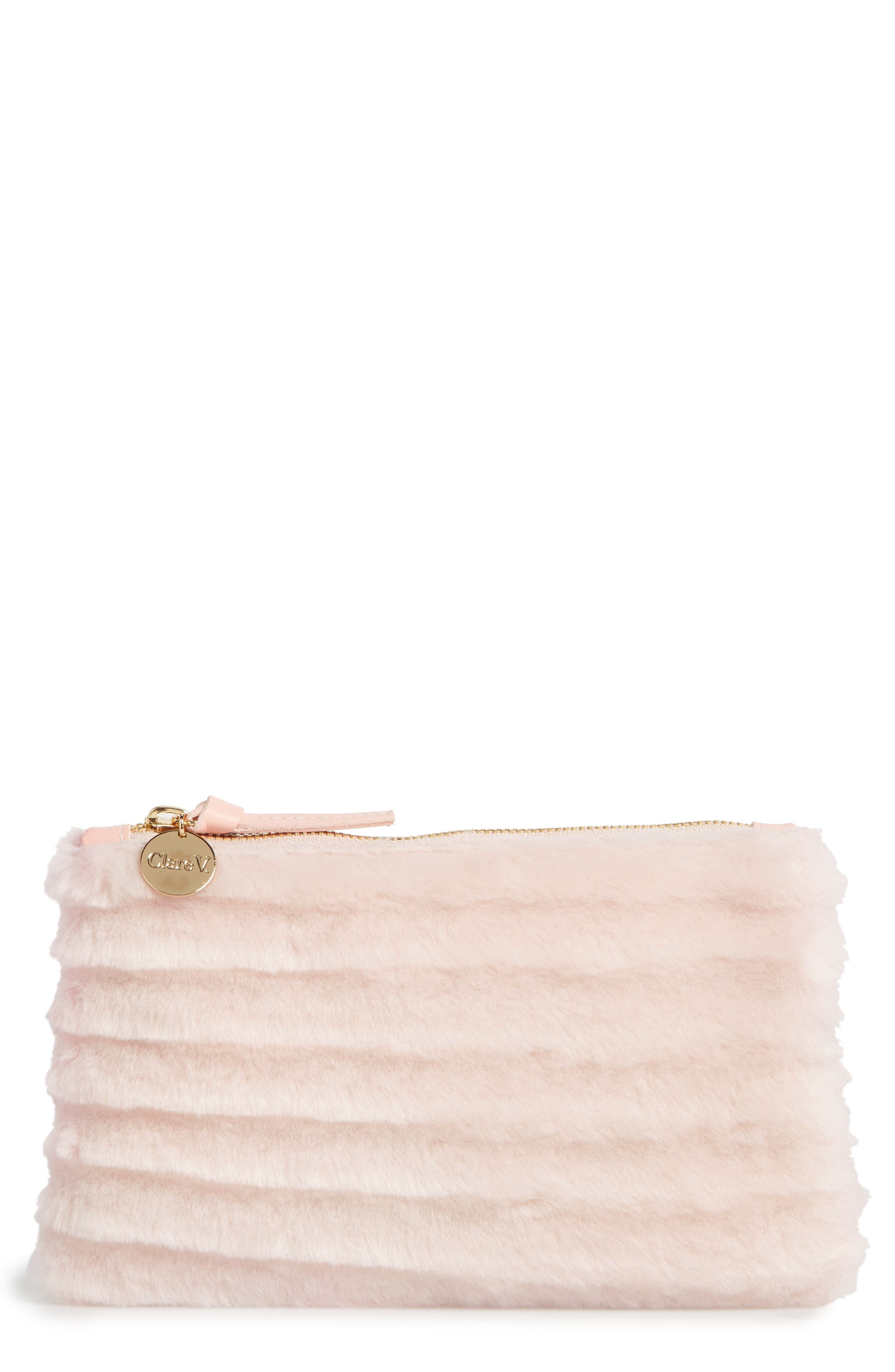 Main Image - Clare V. Genuine Shearling Pouch