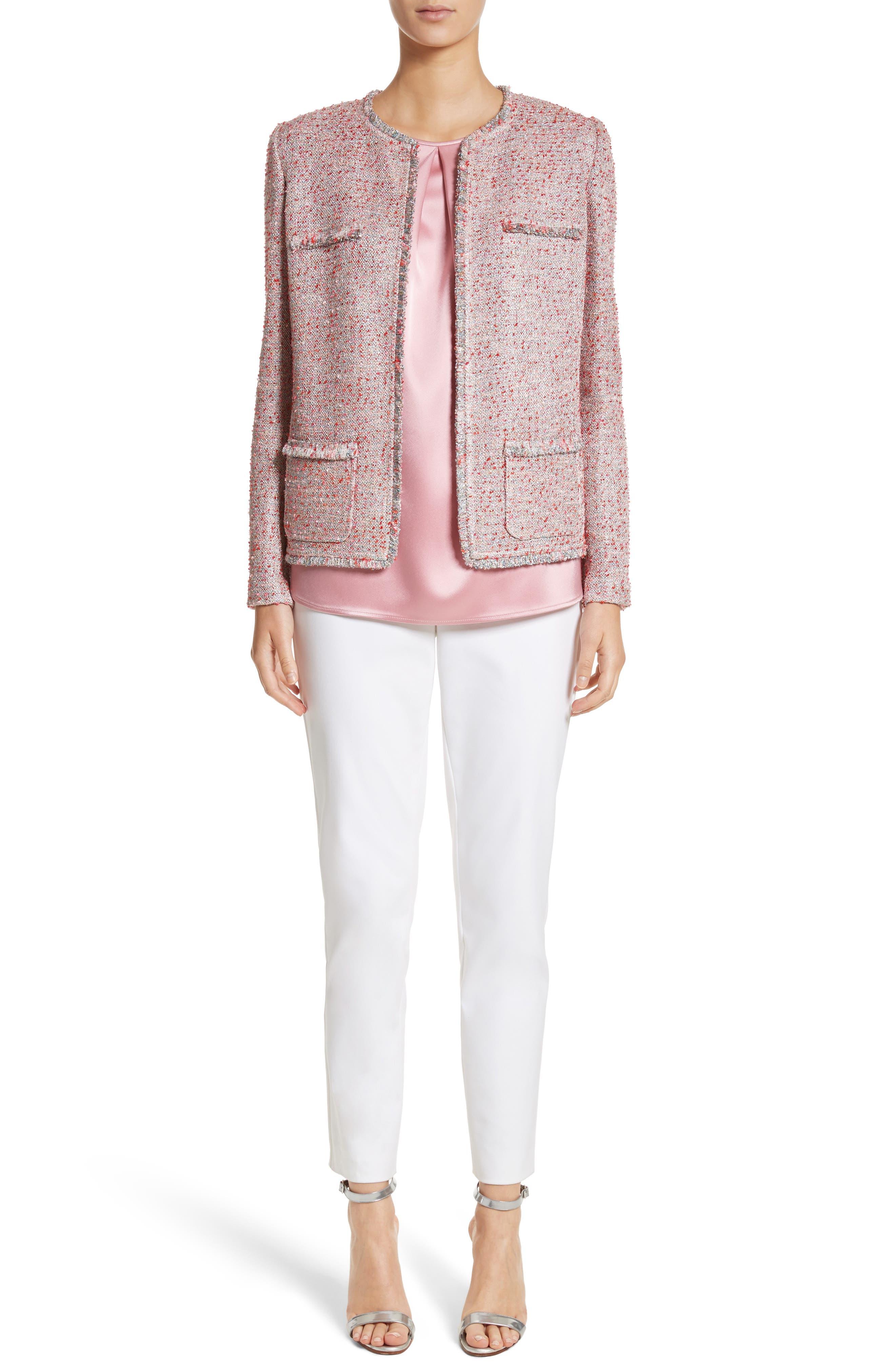 Metallic Tweed Jacket,                             Alternate thumbnail 7, color,                             Rosa Multi