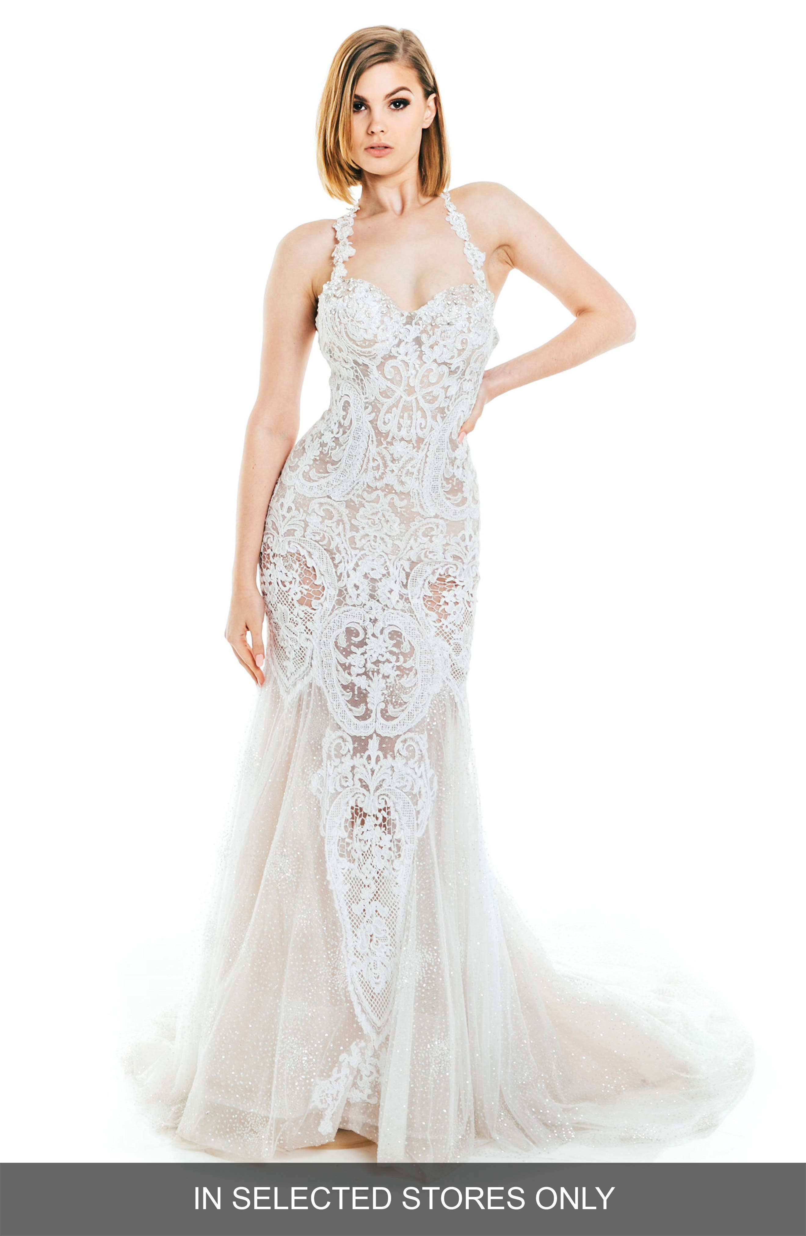 Lena Beaded Lace Halter Gown,                             Main thumbnail 1, color,                             Nude