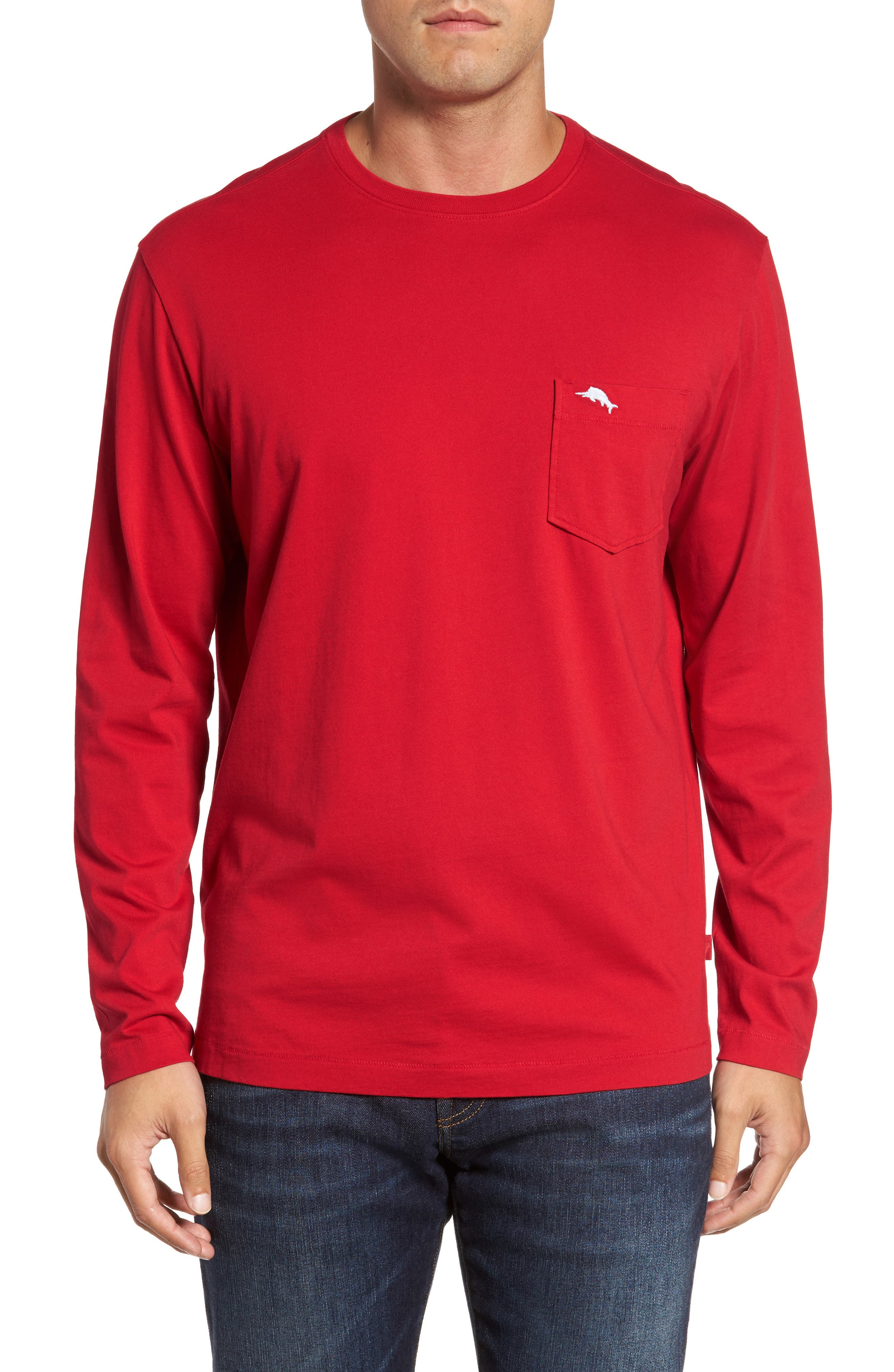 Bali Skyline Long Sleeve Pima Cotton T-Shirt,                         Main,                         color, Regal Red