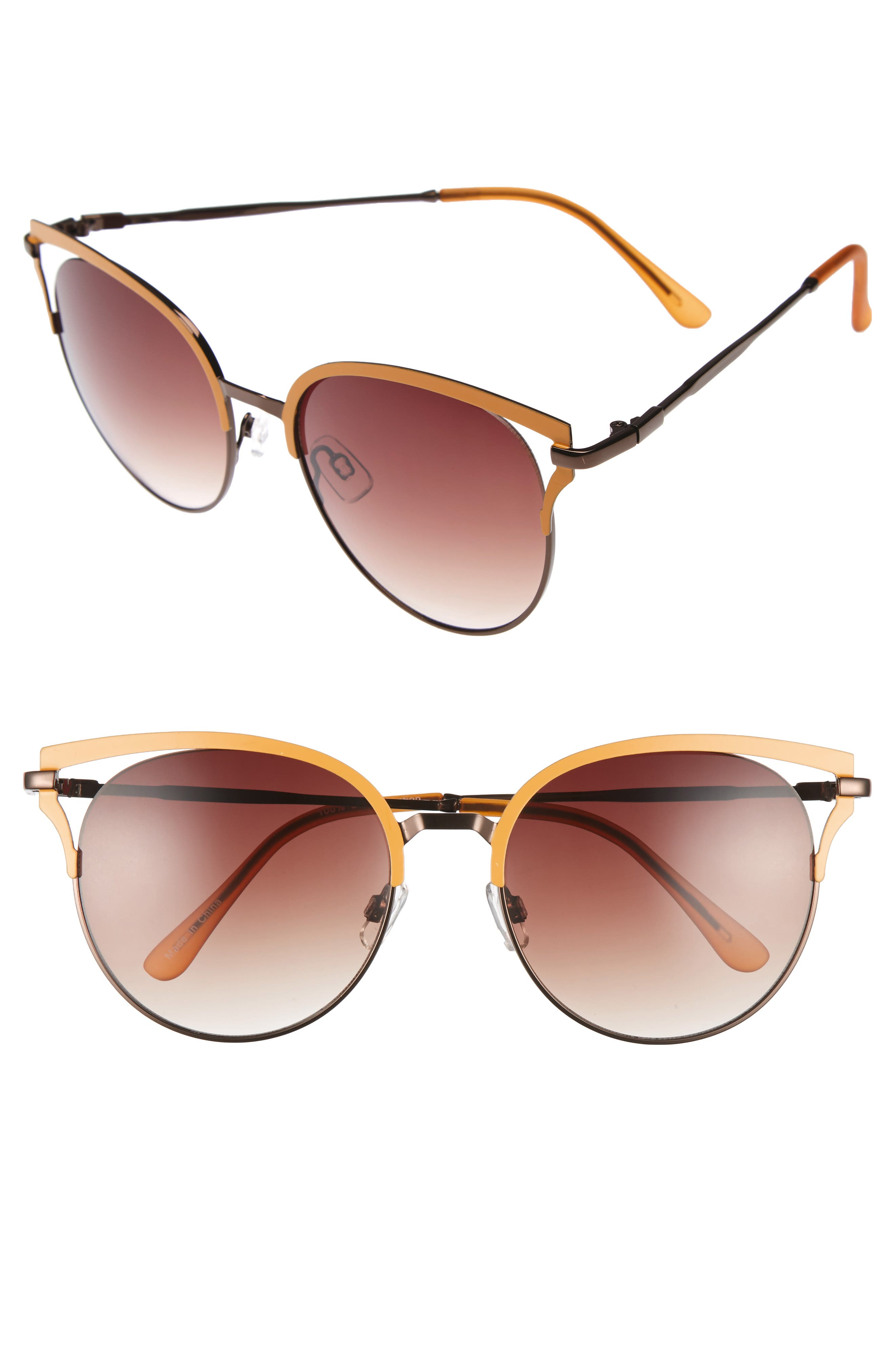 55mm Colored Round Sunglasses,                             Main thumbnail 1, color,                             Mustard/ Gold