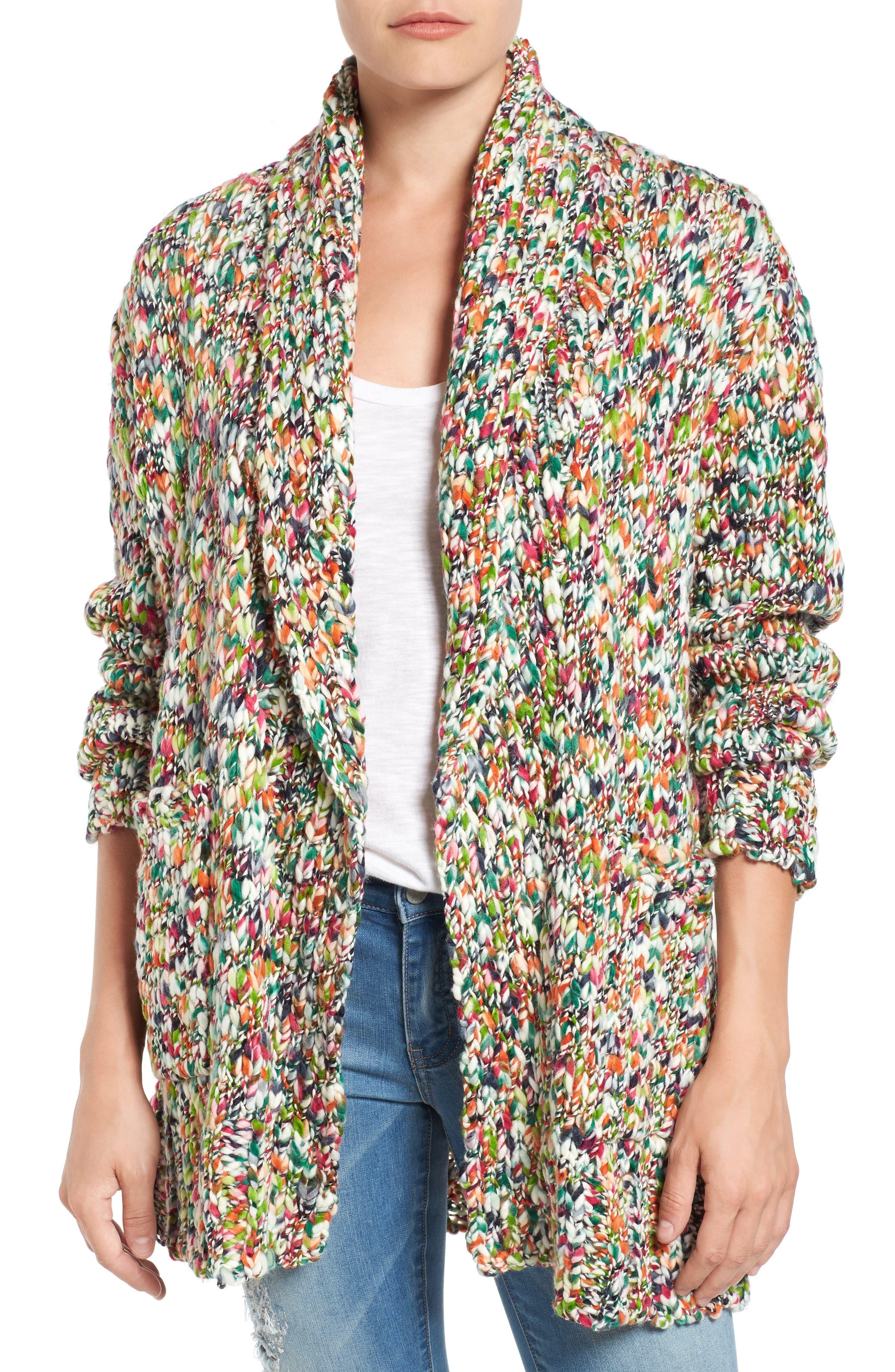 Press Confetti Knit Shawl Collar Sweater