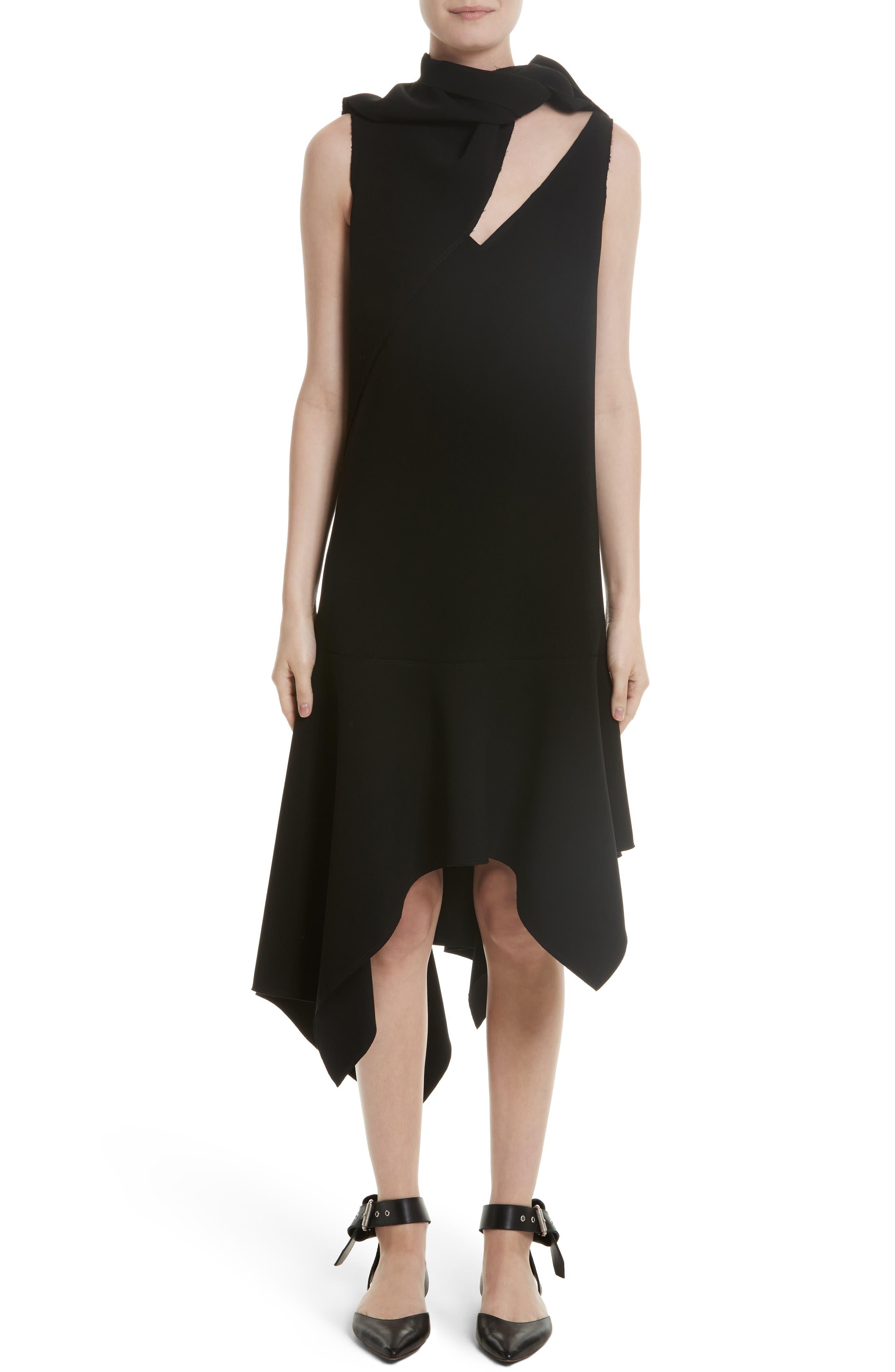 Knotted Neckline Drop Waist Dress,                             Main thumbnail 1, color,                             Black