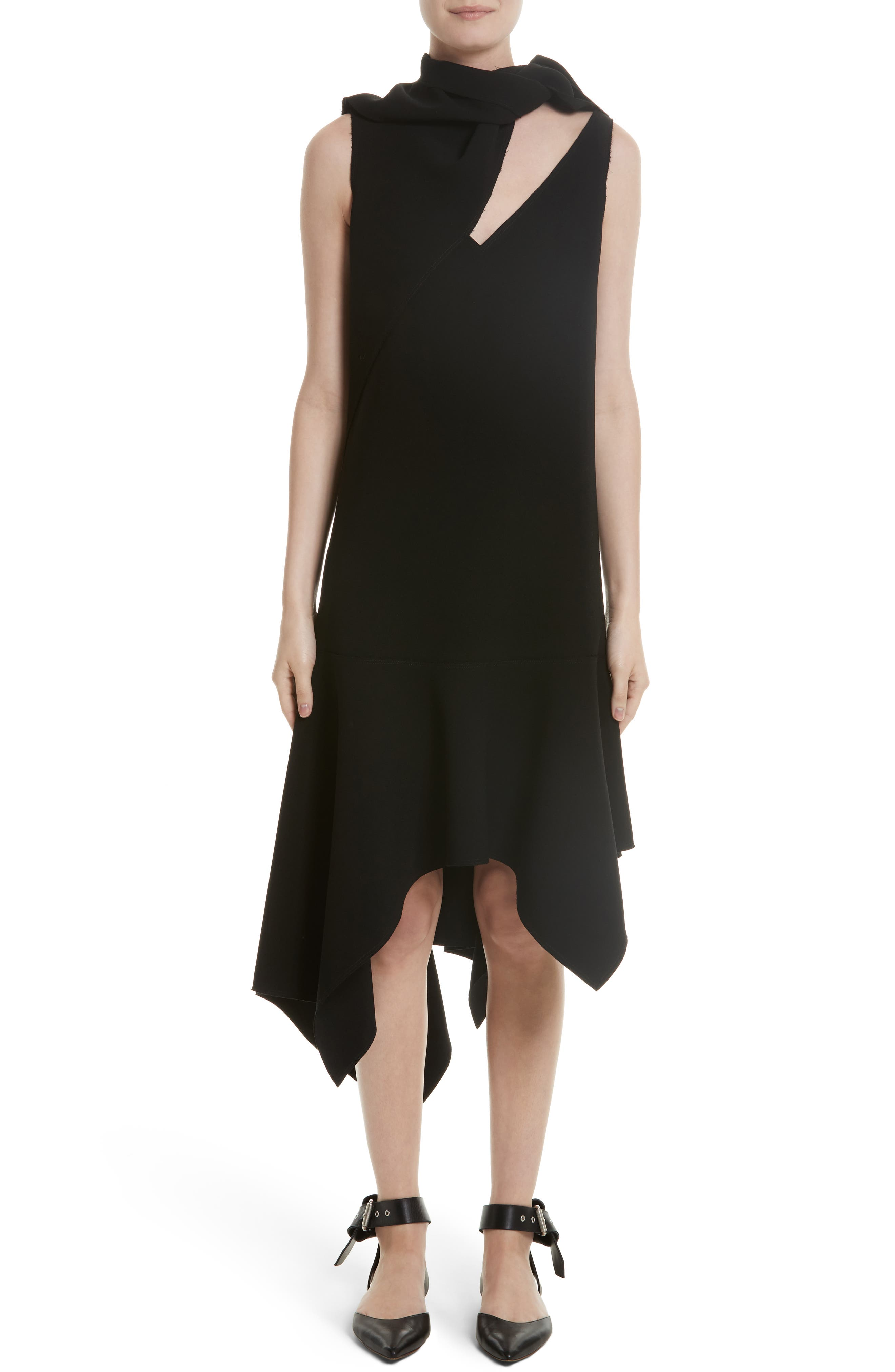 Knotted Neckline Drop Waist Dress,                         Main,                         color, Black