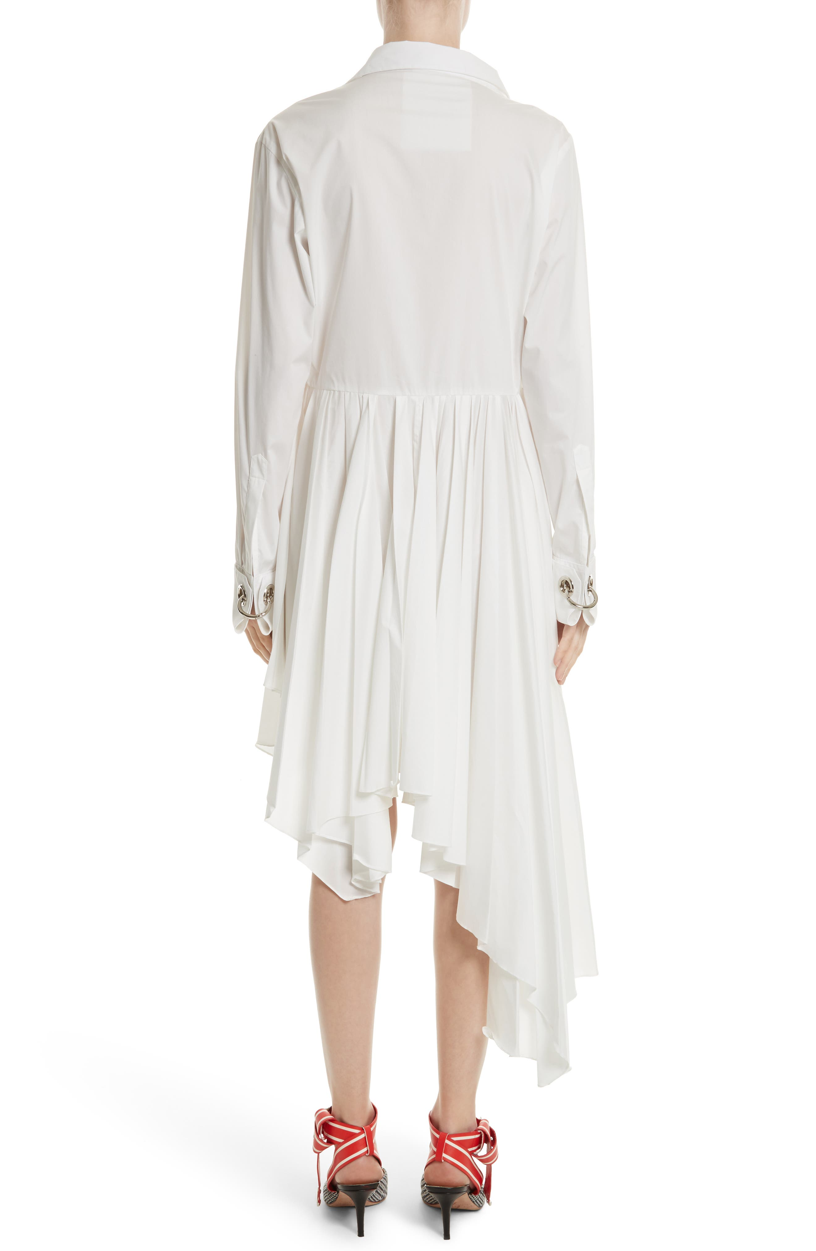 Pleated Asymmetrical Shirtdress,                             Alternate thumbnail 2, color,                             White