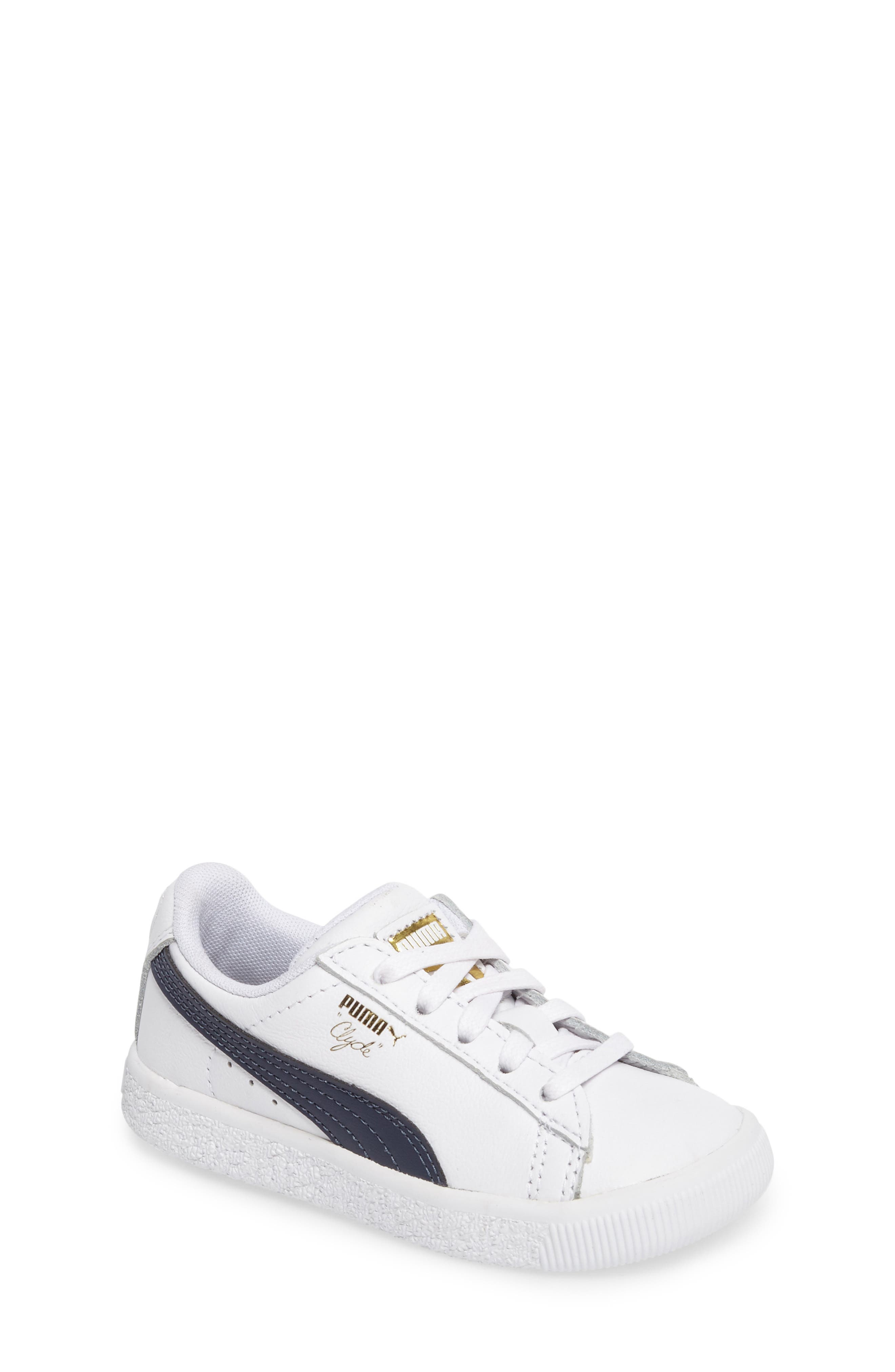 Clyde Core Foil Sneaker,                         Main,                         color, White/ Navy