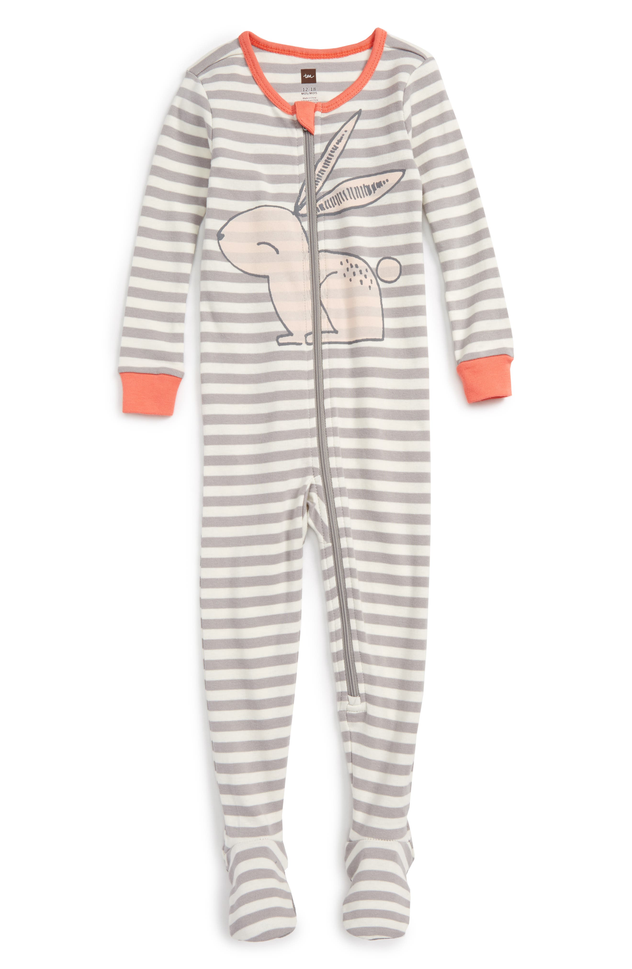 Rabaid Fitted One-Piece Pajamas,                         Main,                         color, Storm Grey