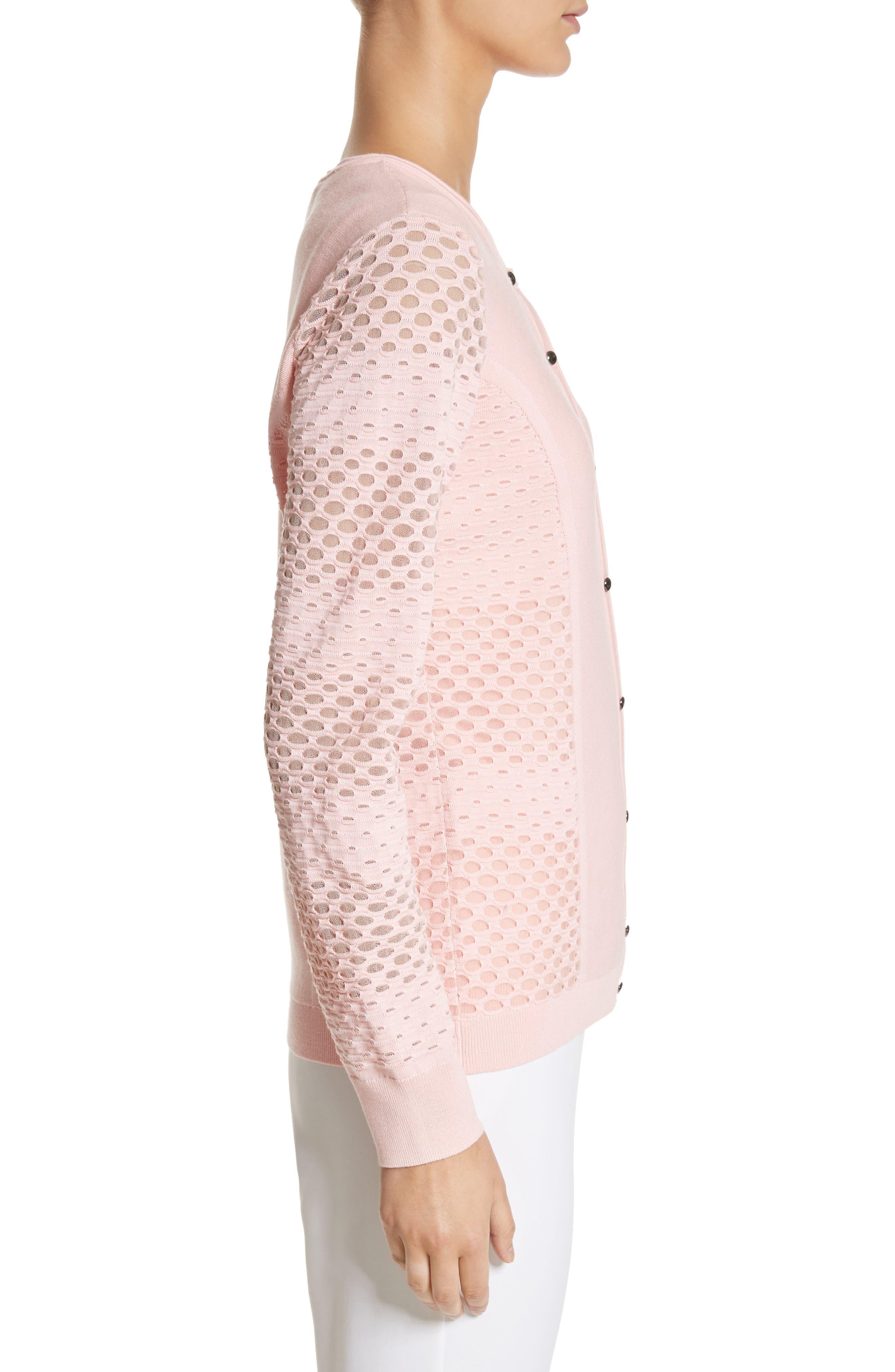 Alternate Image 3  - St. John Collection Engineered Dégradé Mesh Birdseye Knit Cardigan