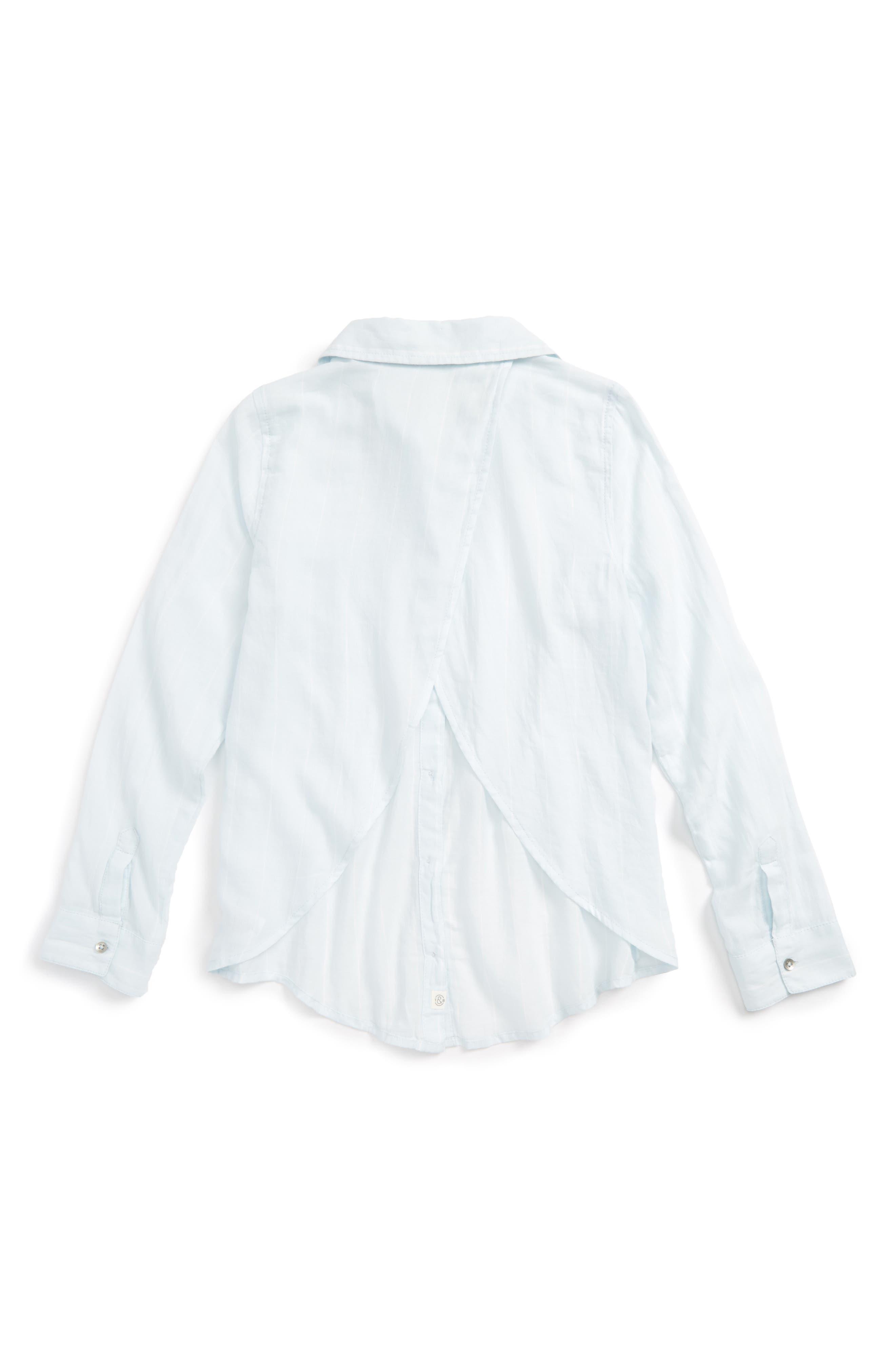 Cross Back Flyaway Woven Shirt,                             Alternate thumbnail 2, color,                             Blue Drift Chalk Stripe