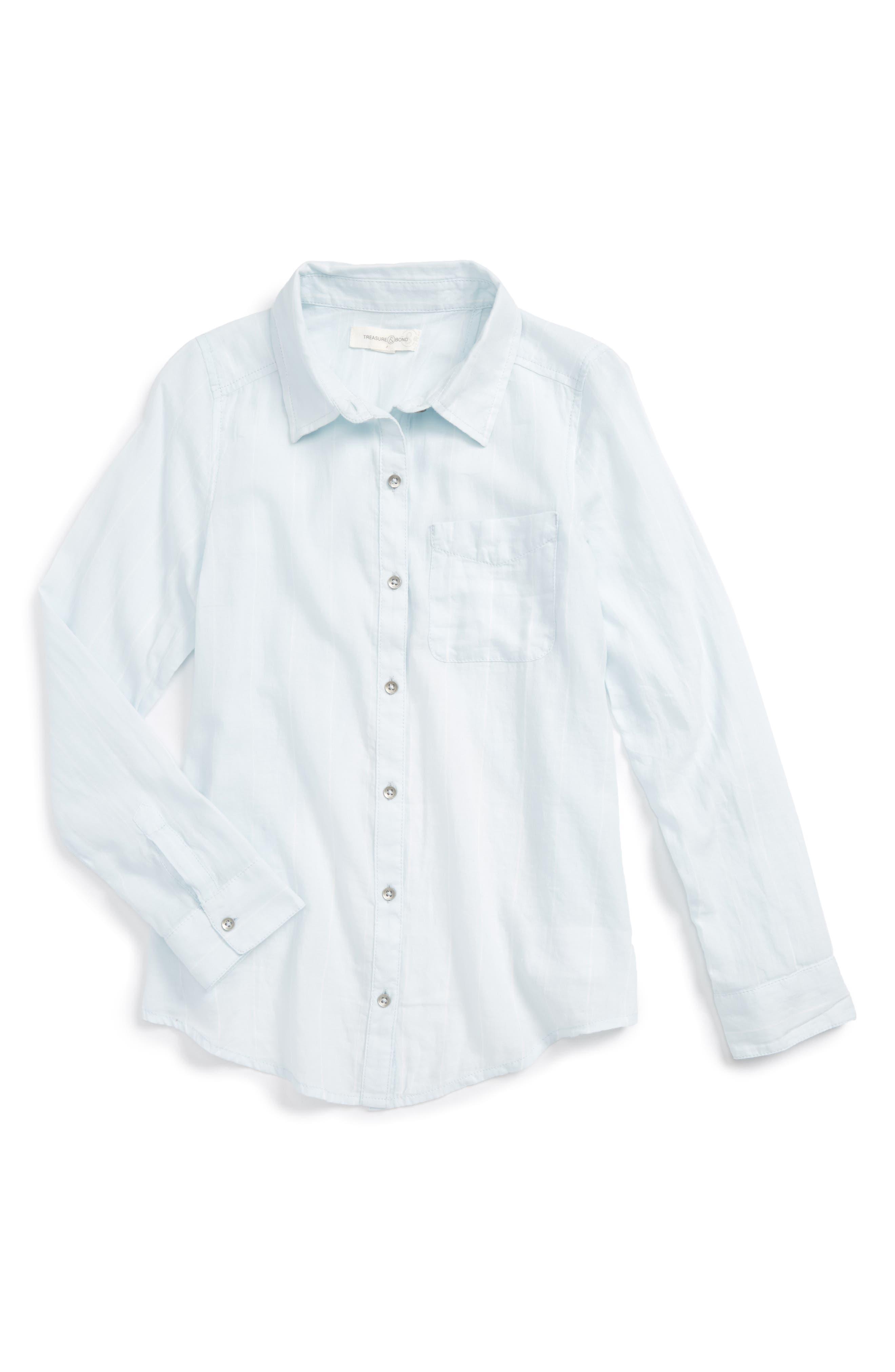 Main Image - Treasure & Bond Cross Back Flyaway Woven Shirt (Big Girls)