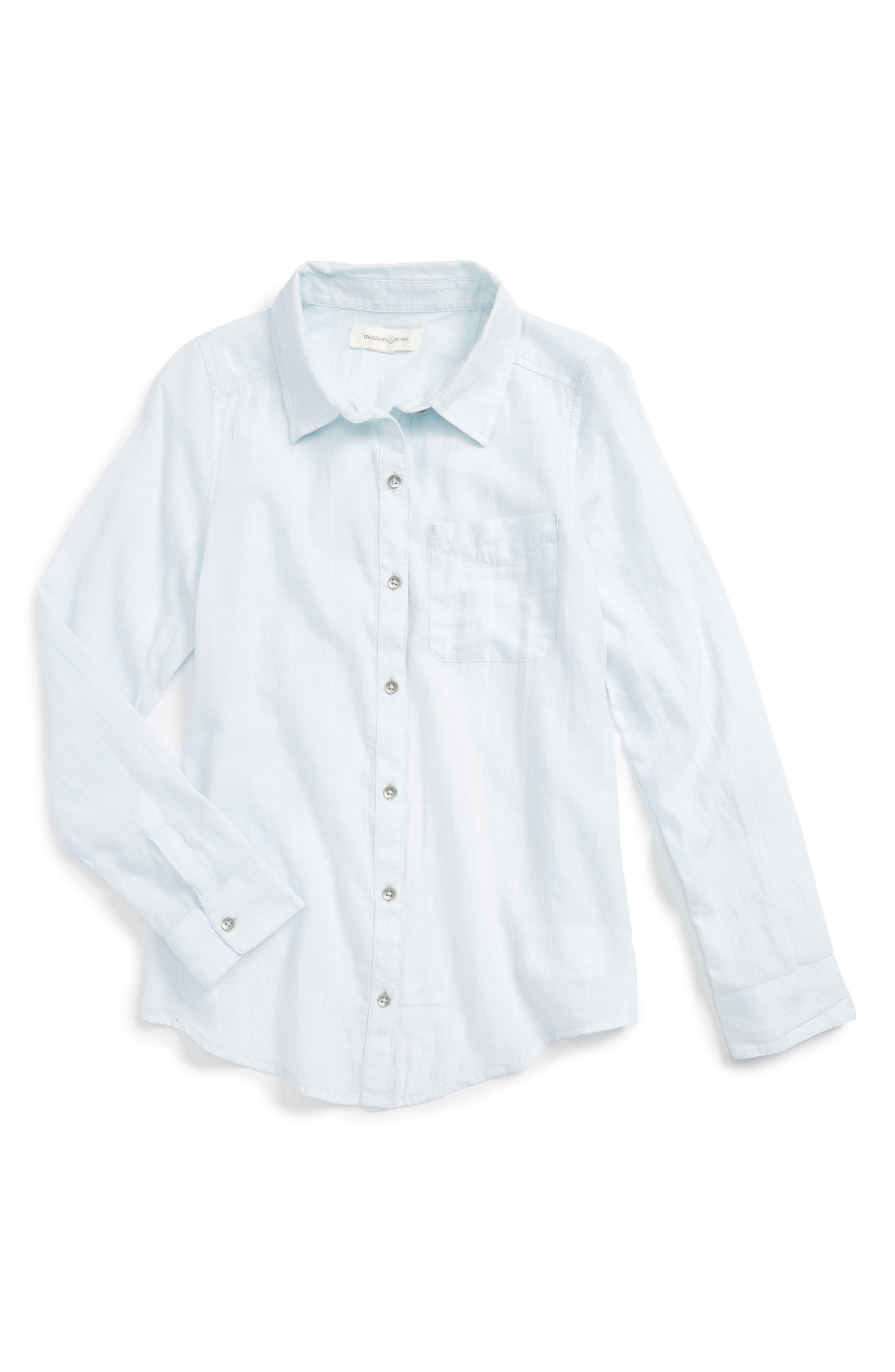 Cross Back Flyaway Woven Shirt,                         Main,                         color, Blue Drift Chalk Stripe