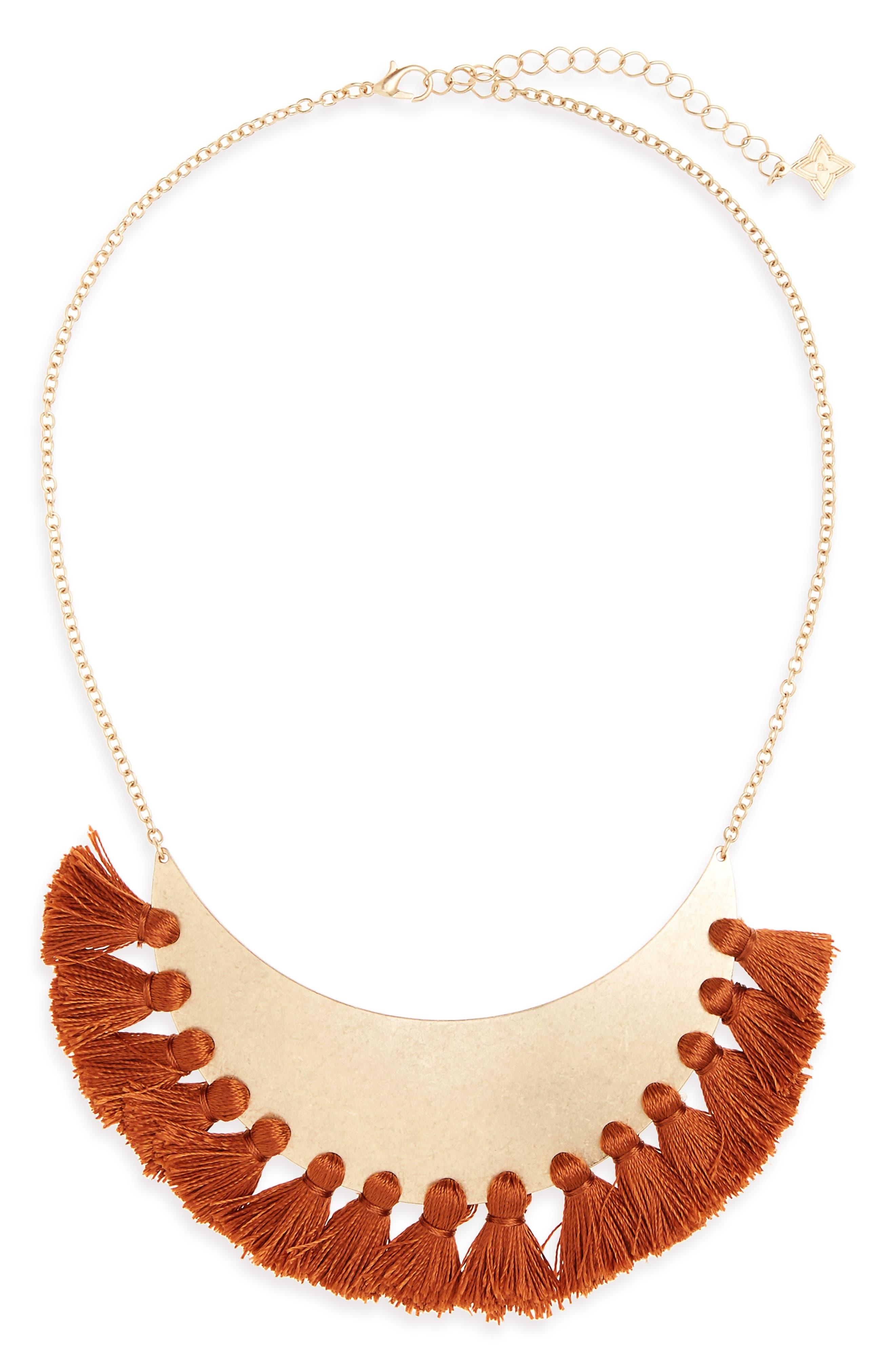 Tassel Bib Necklace,                         Main,                         color, Multi/ Gold