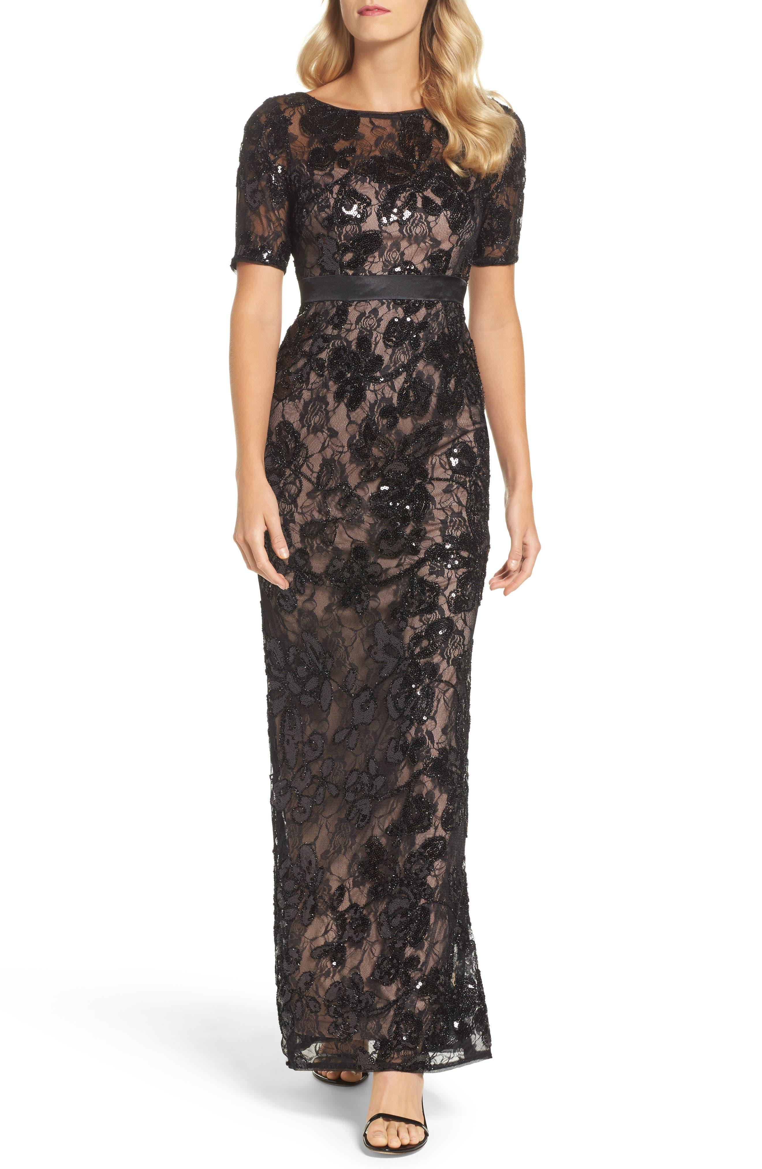 Sequin Lace Gown,                         Main,                         color, Black Nude