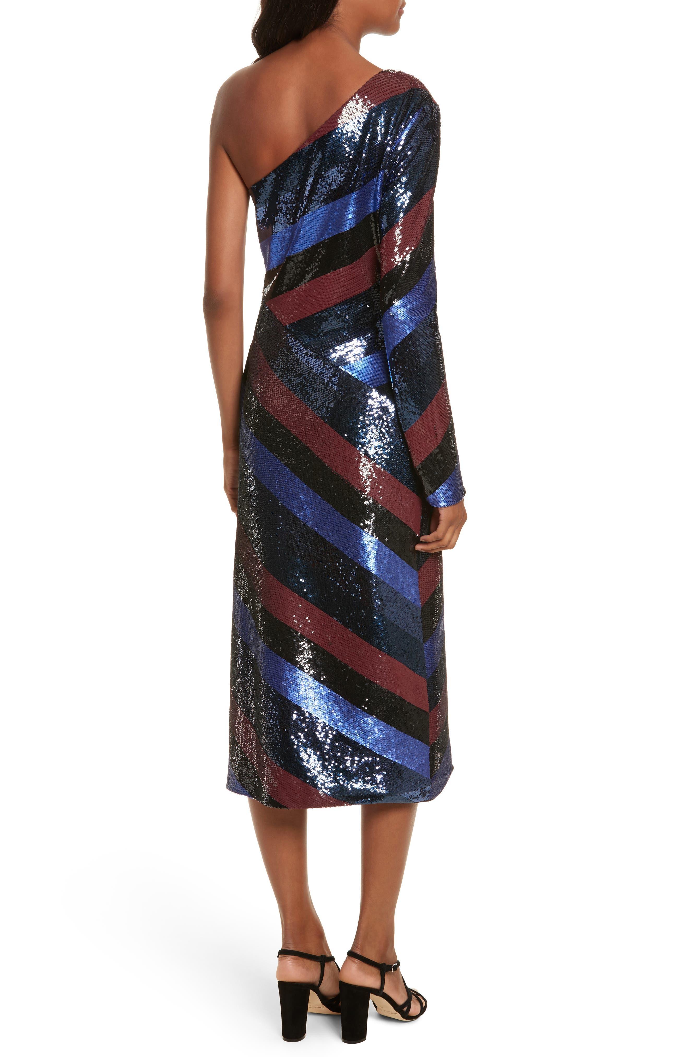 One-Shoulder Sequin Stripe Dress,                             Alternate thumbnail 2, color,                             Electric Blue Multi