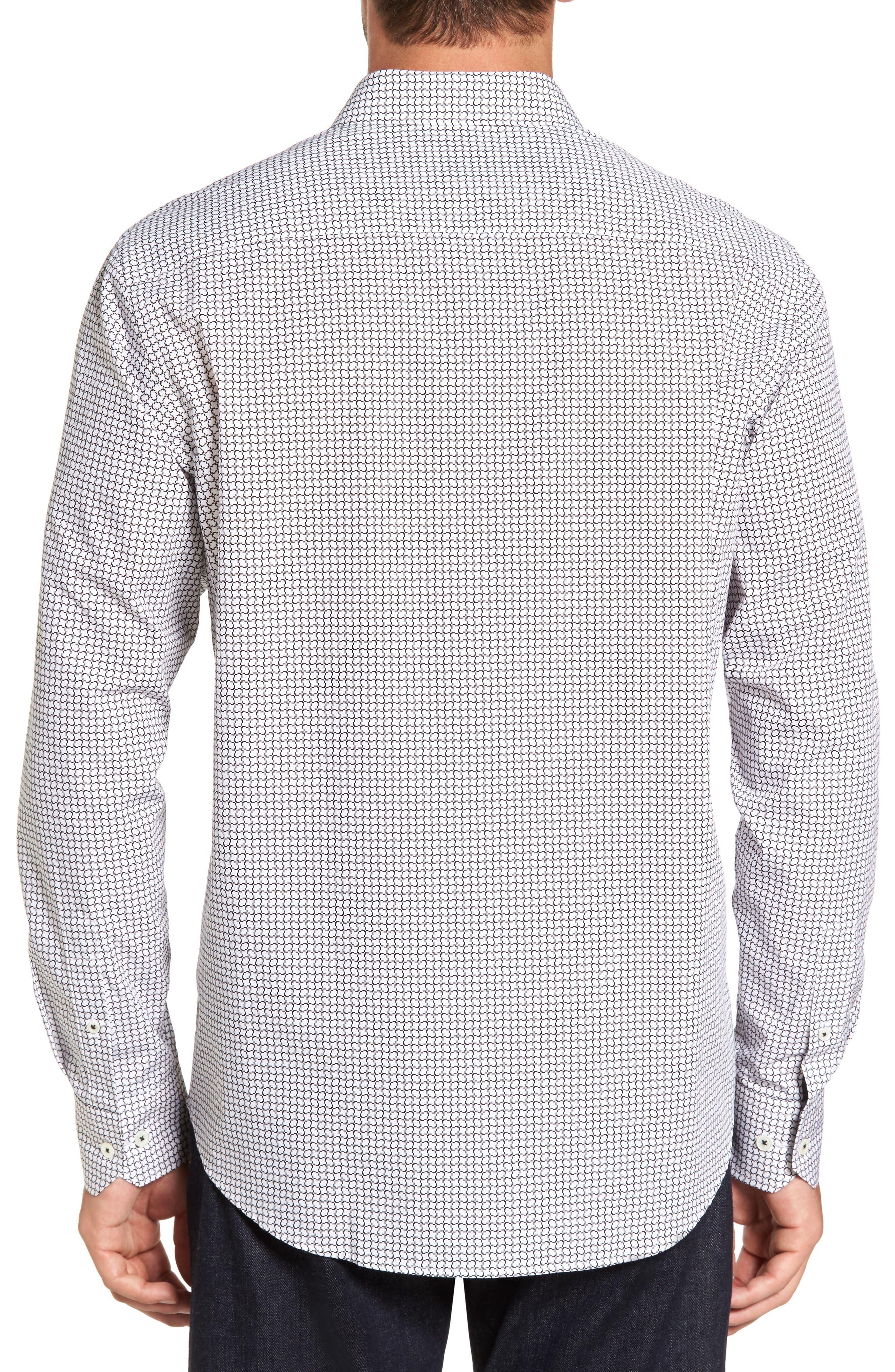 Classic Fit Print Sport Shirt,                             Alternate thumbnail 2, color,                             White