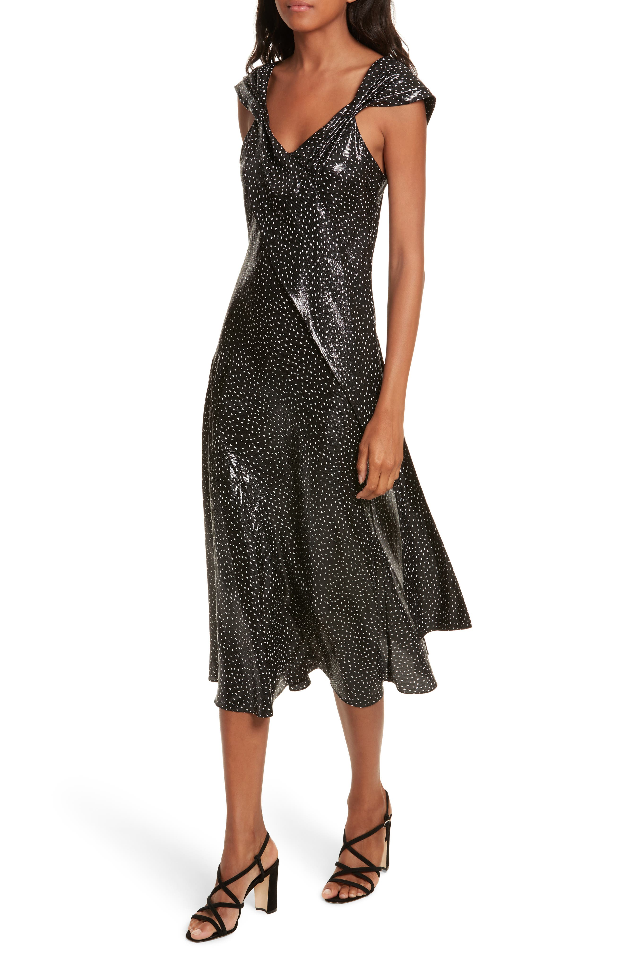 Metallic Dot Midi Dress,                             Alternate thumbnail 4, color,                             Irvine Dot Black