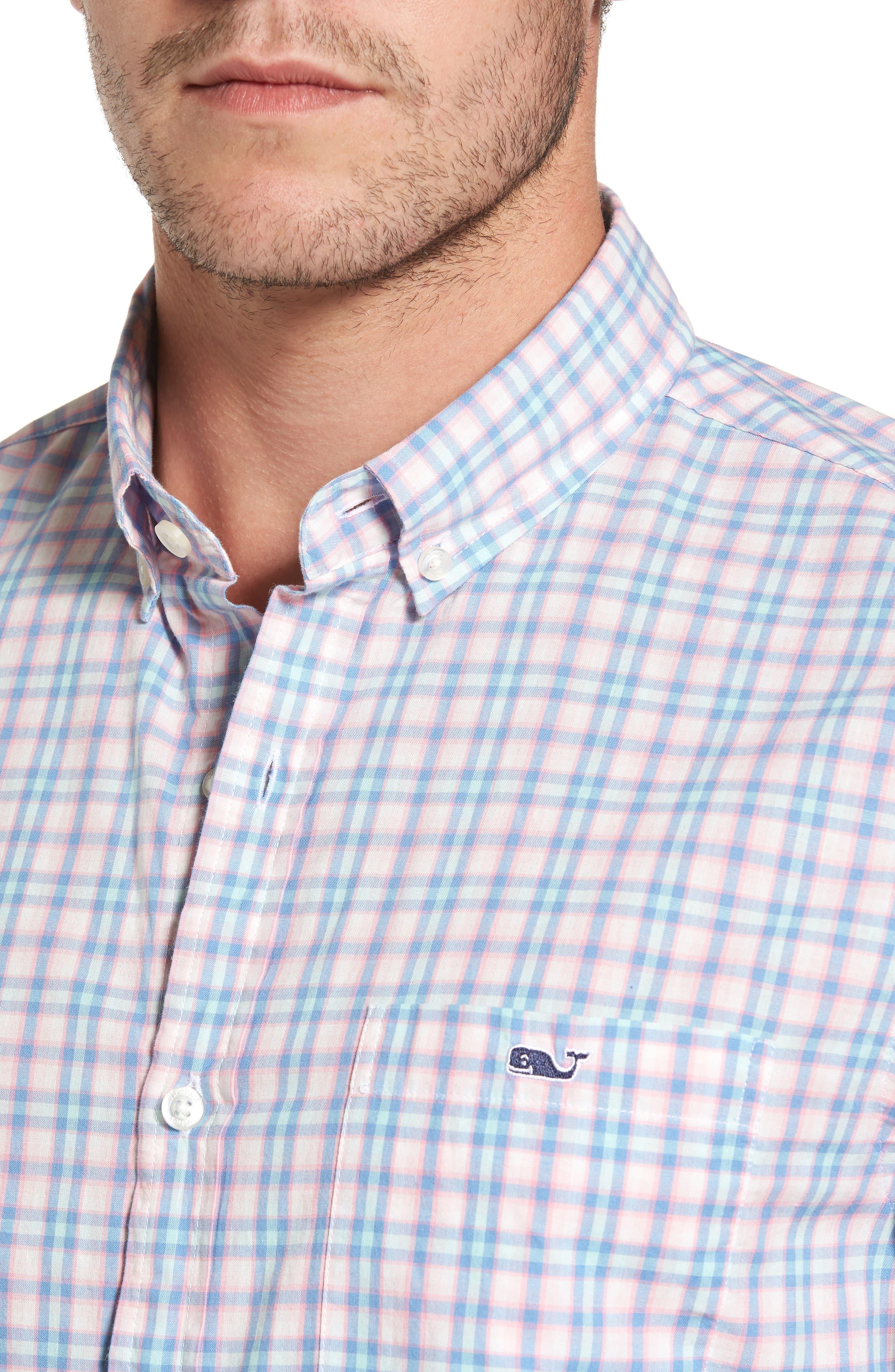 Hamlets Port Plaid Tucker Slim Fit Sport Shirt,                             Alternate thumbnail 4, color,                             Flamingo