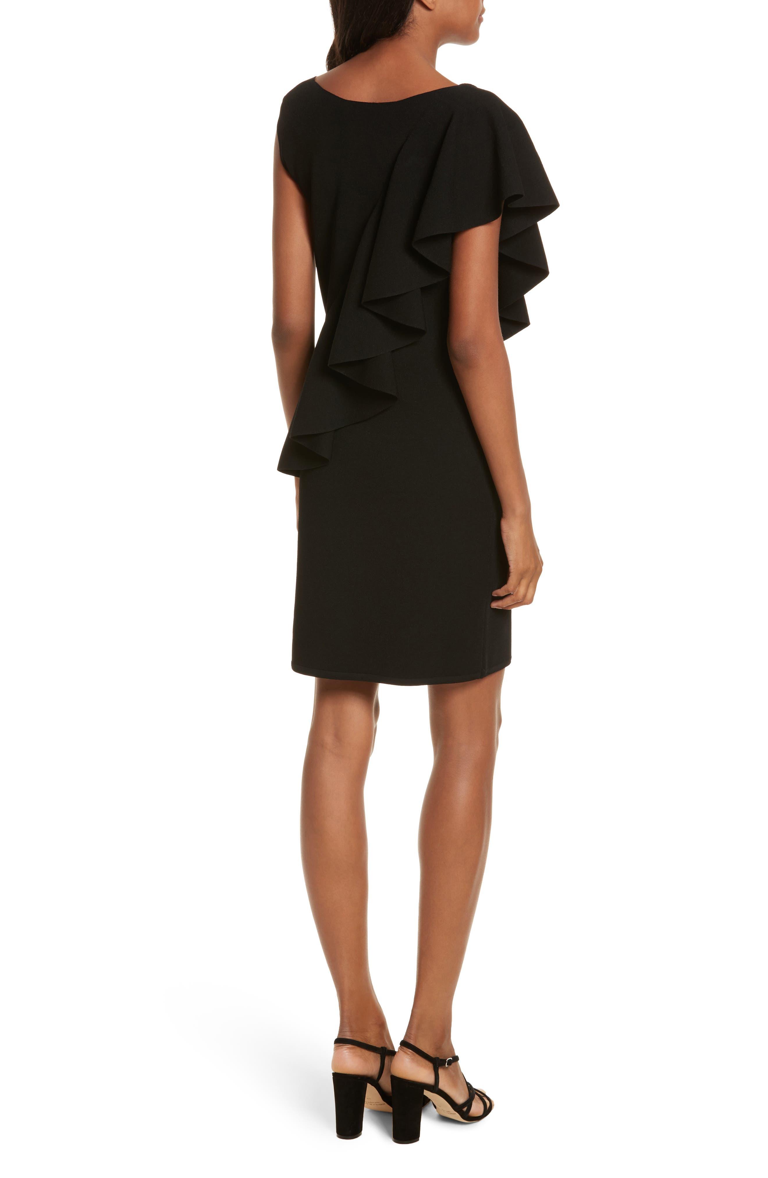Asymmetrical Ruffle Dress,                             Alternate thumbnail 2, color,                             Black